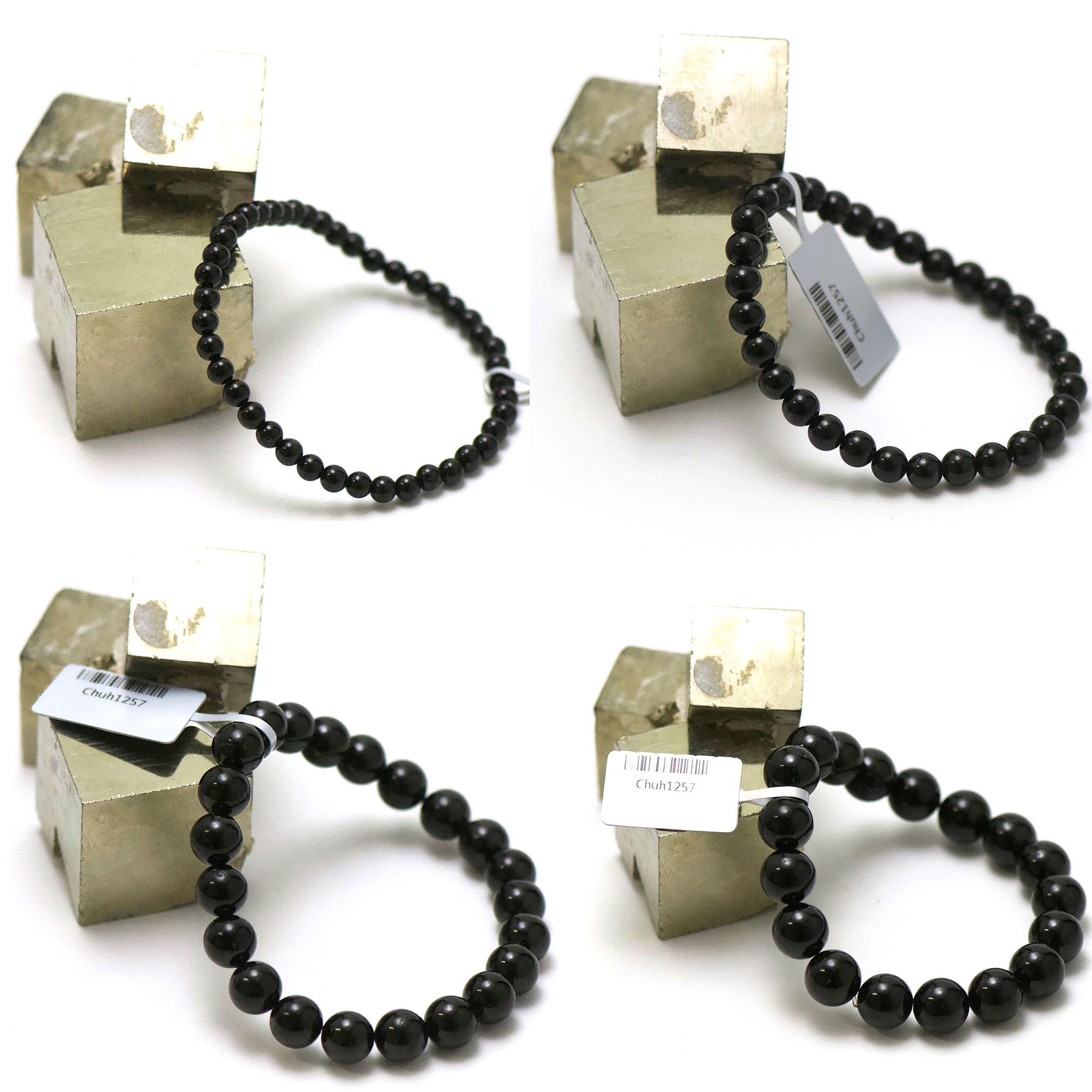 bracelet tourmaline noir, perle ronde 4/6/8/10 mm au choix