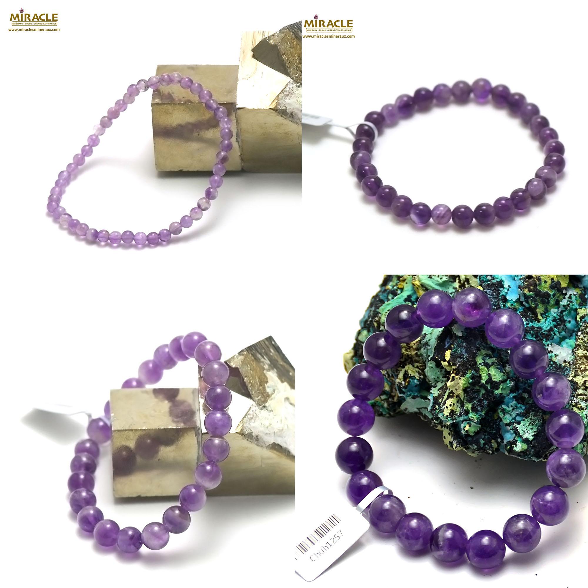 bracelet améthyste, perle ronde 4/6/8/10 mm au choix