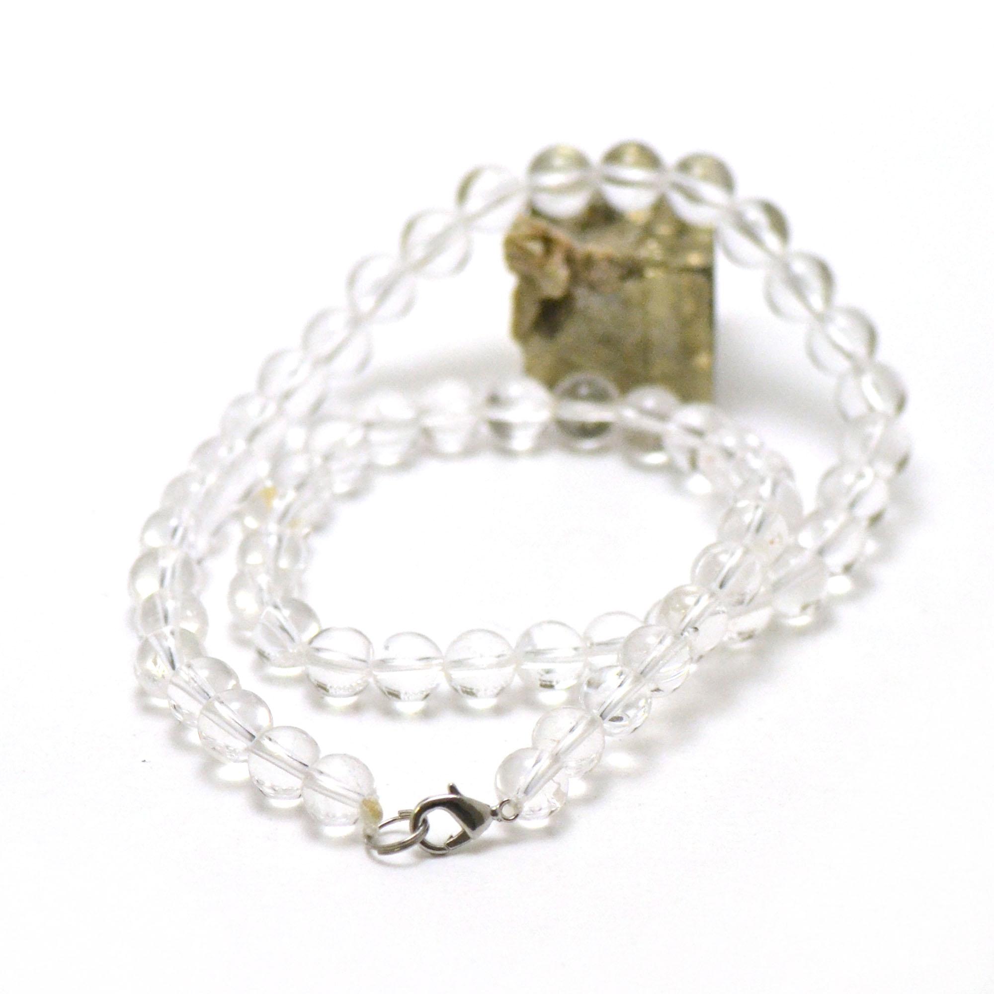 Collier cristal de roche, perle ronde 8 mm