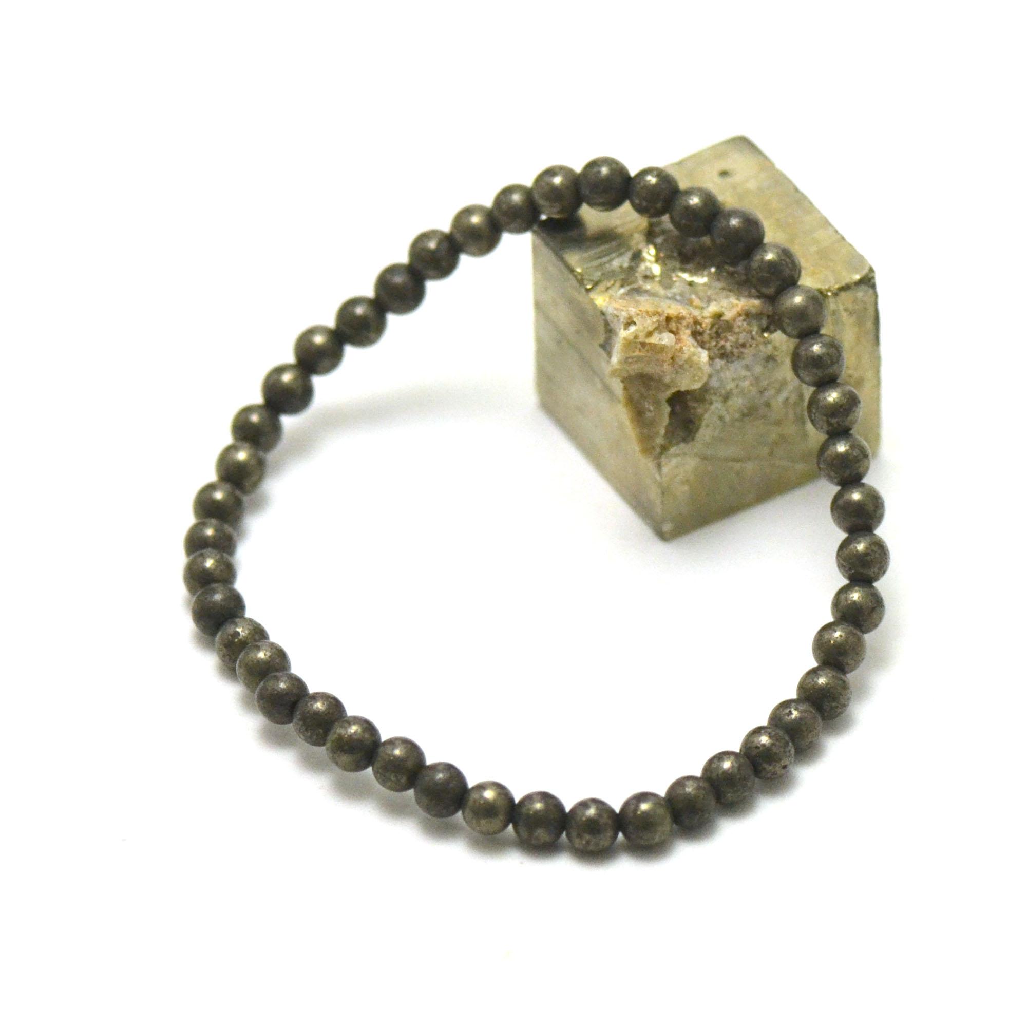 Bracelet pyrite perle ronde 4 mm