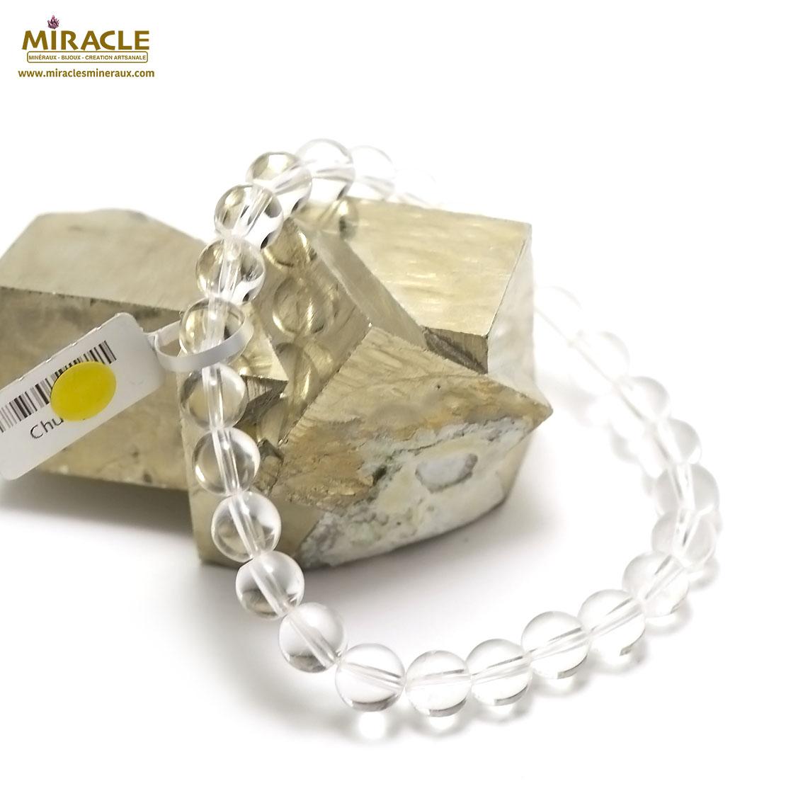 Bracelet cristal de roche, perle ronde 8 mm
