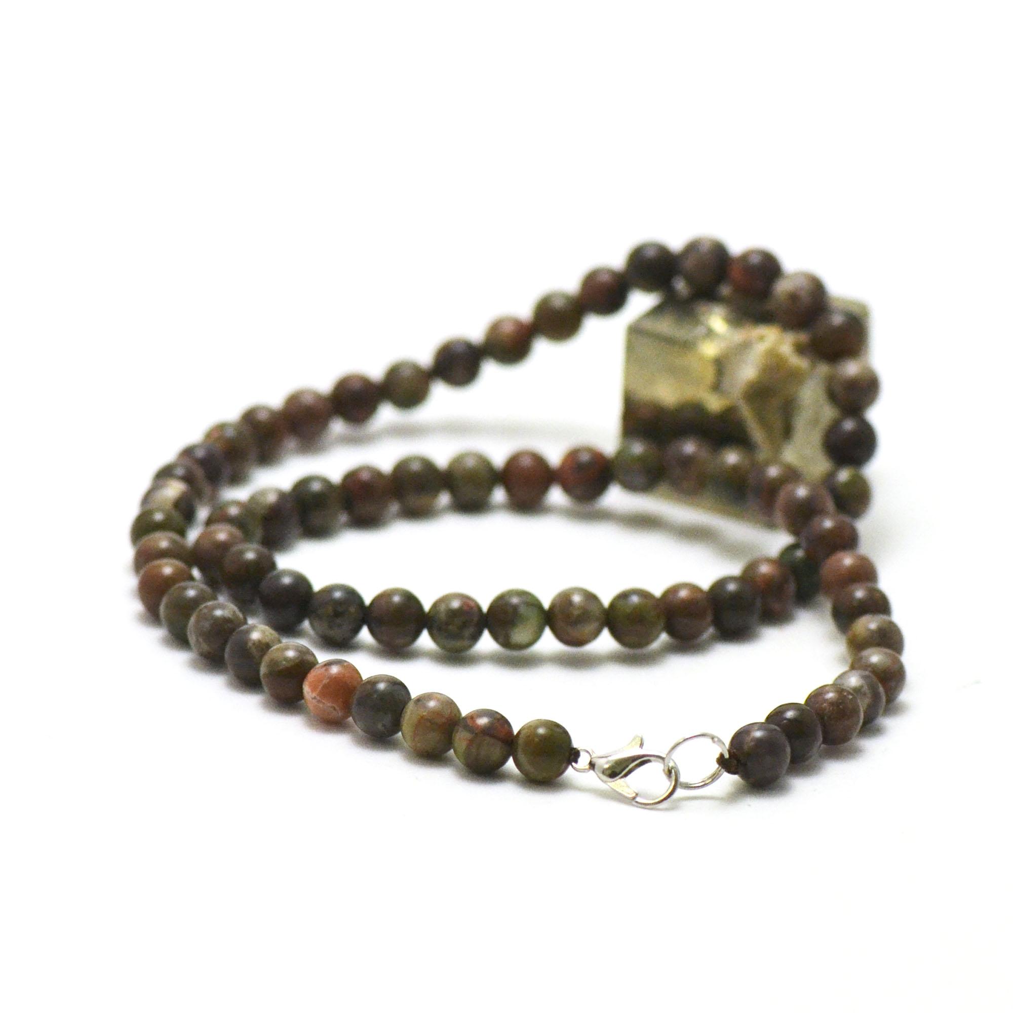 Collier Rhyolite, perle ronde 6 mm