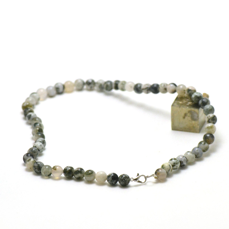 Collier d\'Agate arbre, perle ronde 8 mm