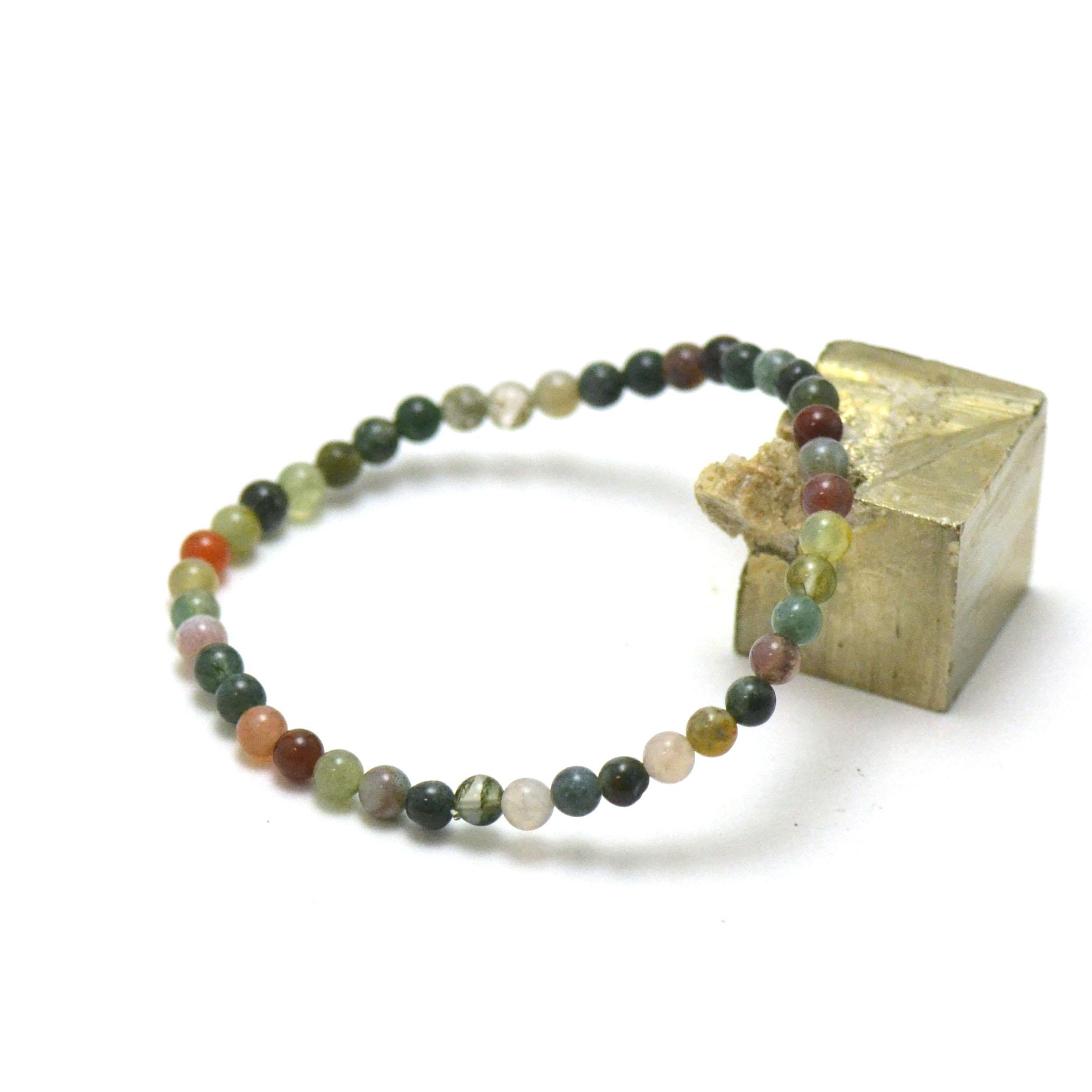 Bracelet d\'agate indienne perle ronde 4 mm