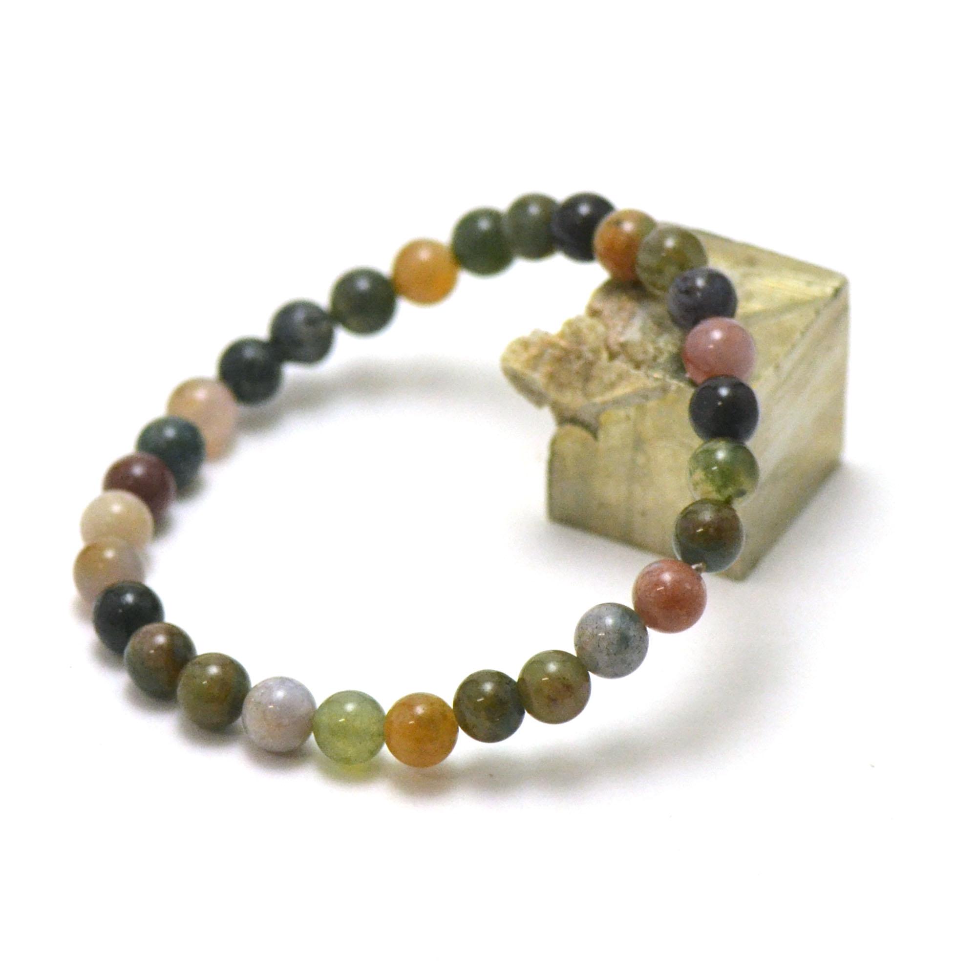 Bracelet d\'agate indienne perle ronde 6 mm