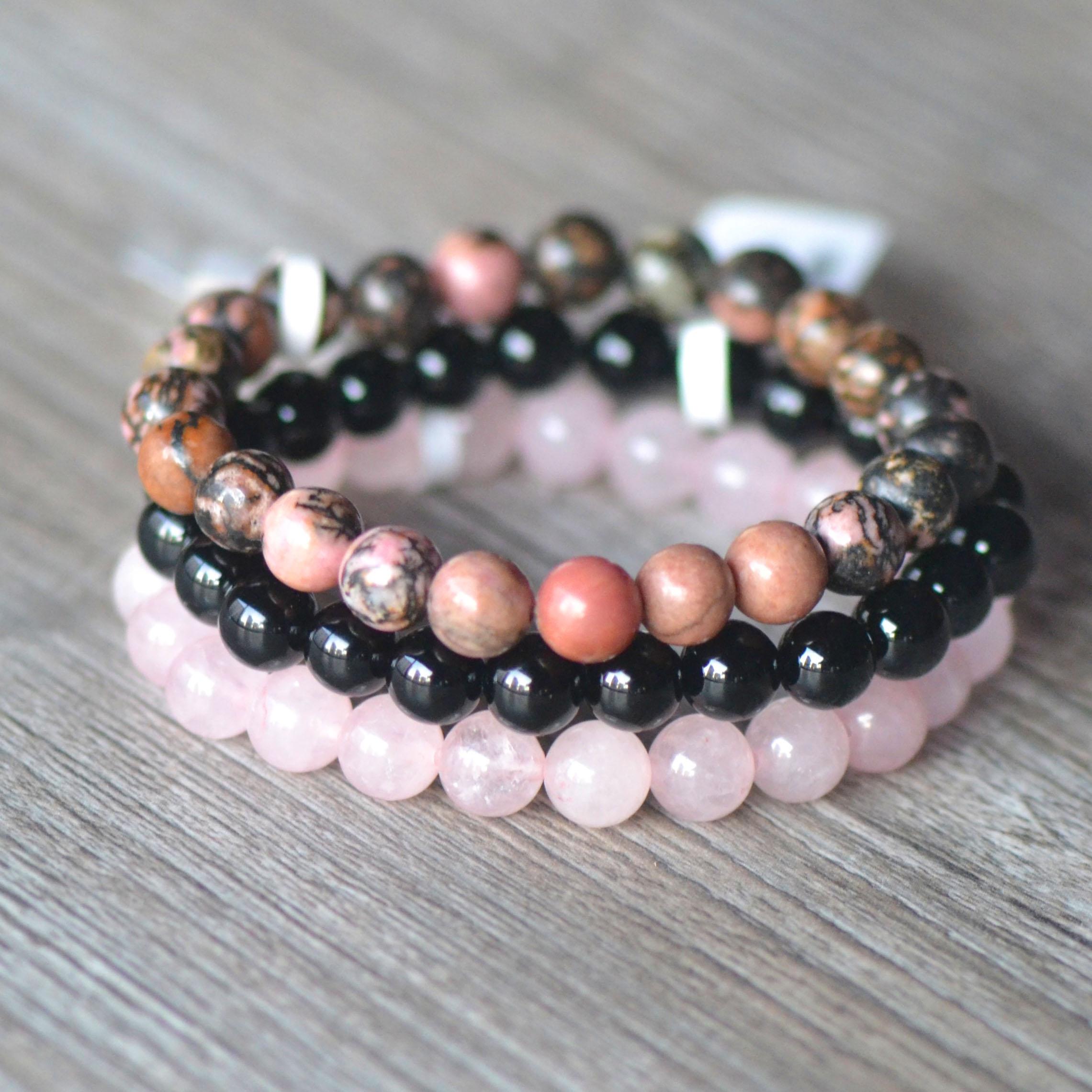 Triple bracelets stabilité en amour, en pierre naturelle de quartz rose, rhodonite, onyx