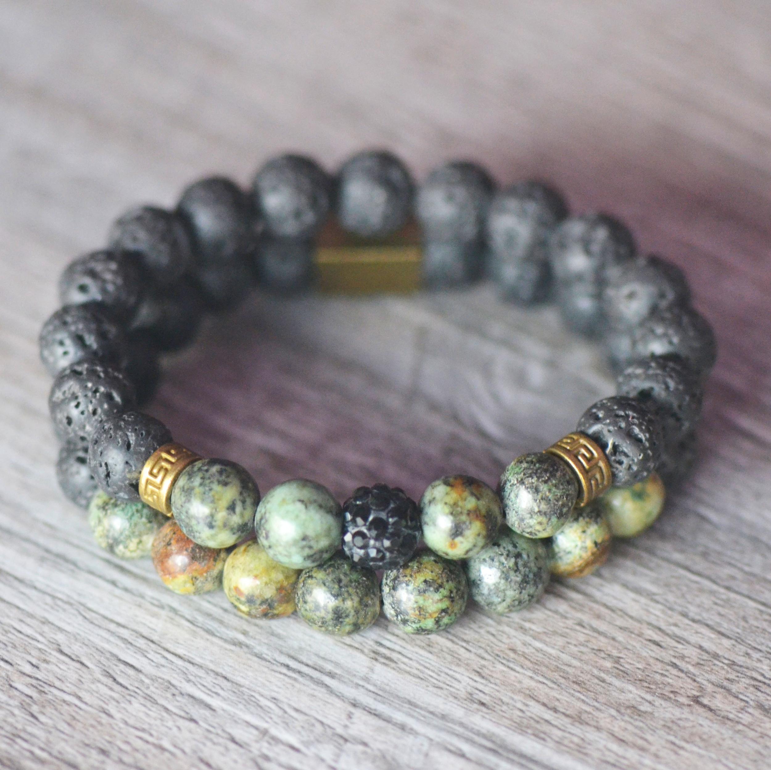 Bracelets double joie et spiritualité, en pierre naturelle de turquoise d\'Afrique et de lave volcanique