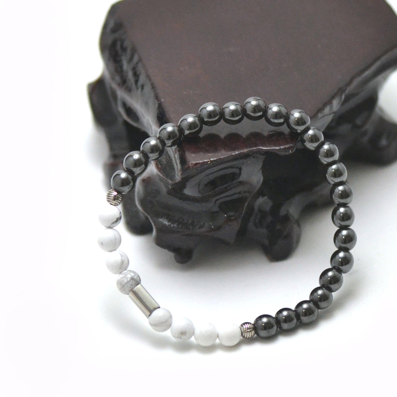 Bracelets harmonie et sagesse, en pierre naturelle d\'howlite et d\'hématite
