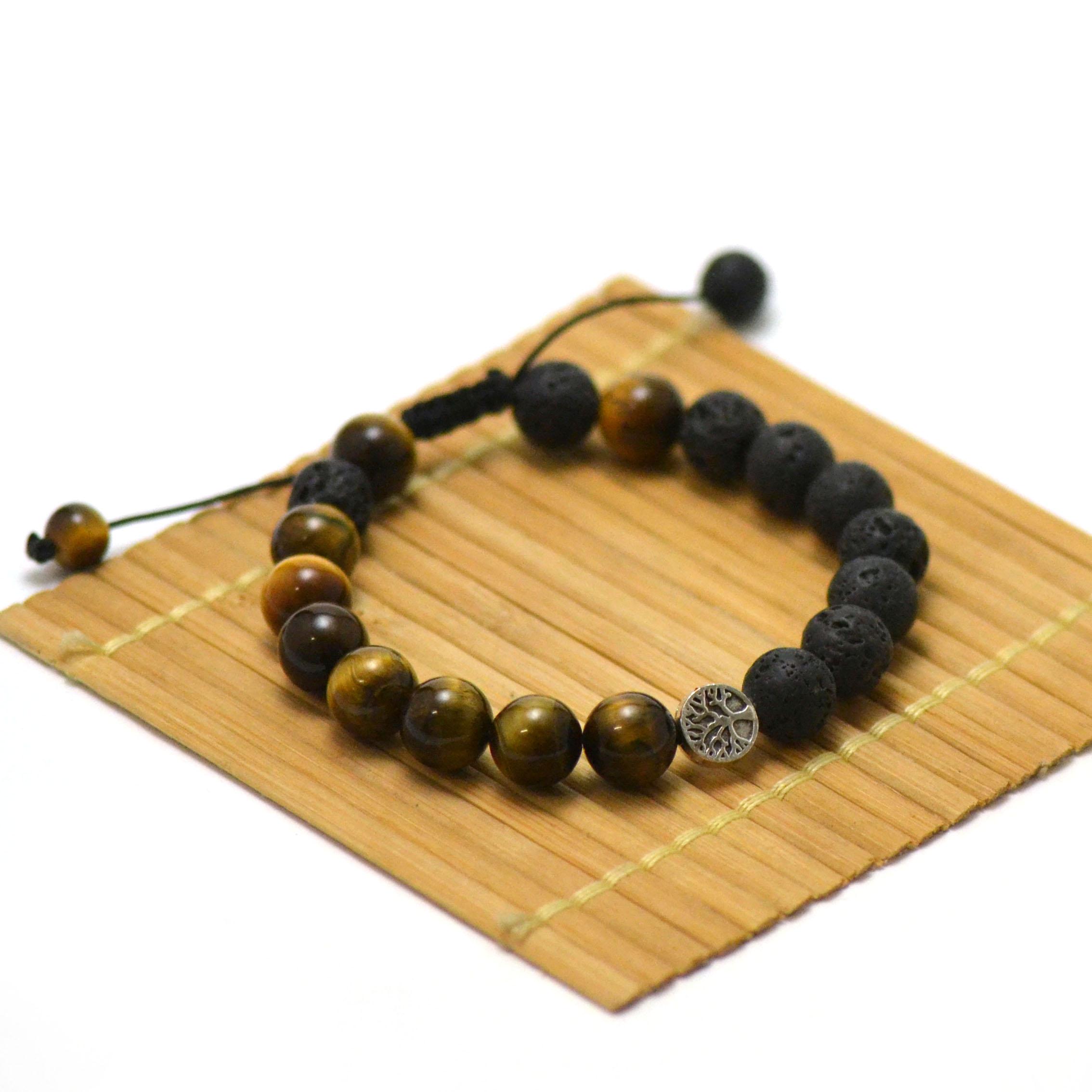 Bracelets protection et joie de vivre, en pierre naturelle d\'oeil du tigre et pierre de lave