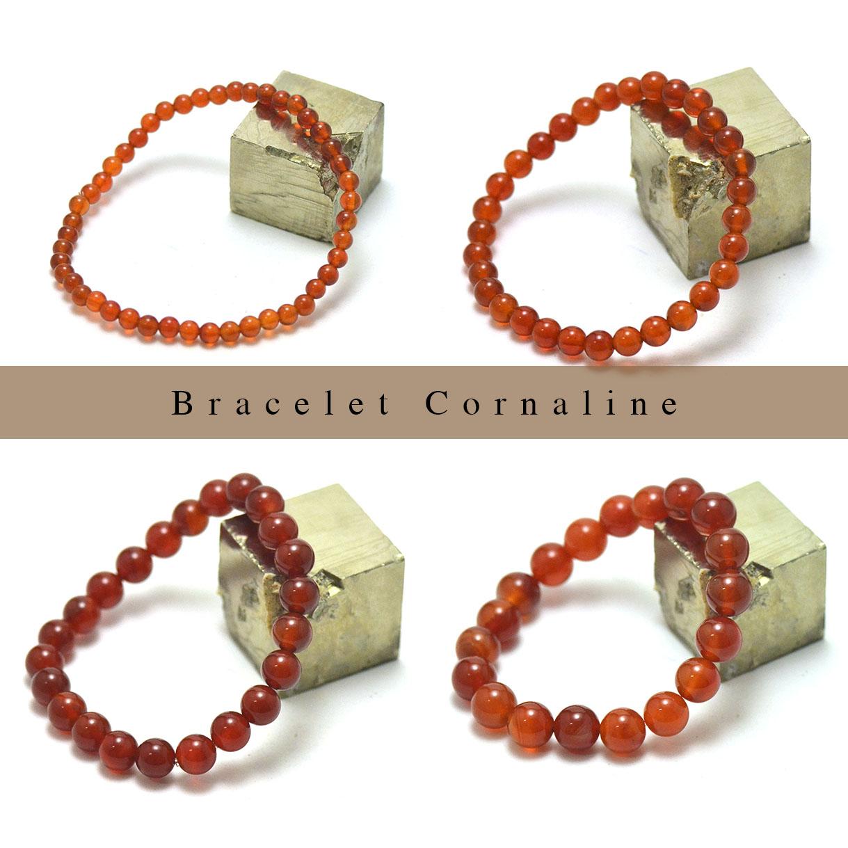 bracelet cornaline, perle ronde 4/6/8/10/12 mm au choix