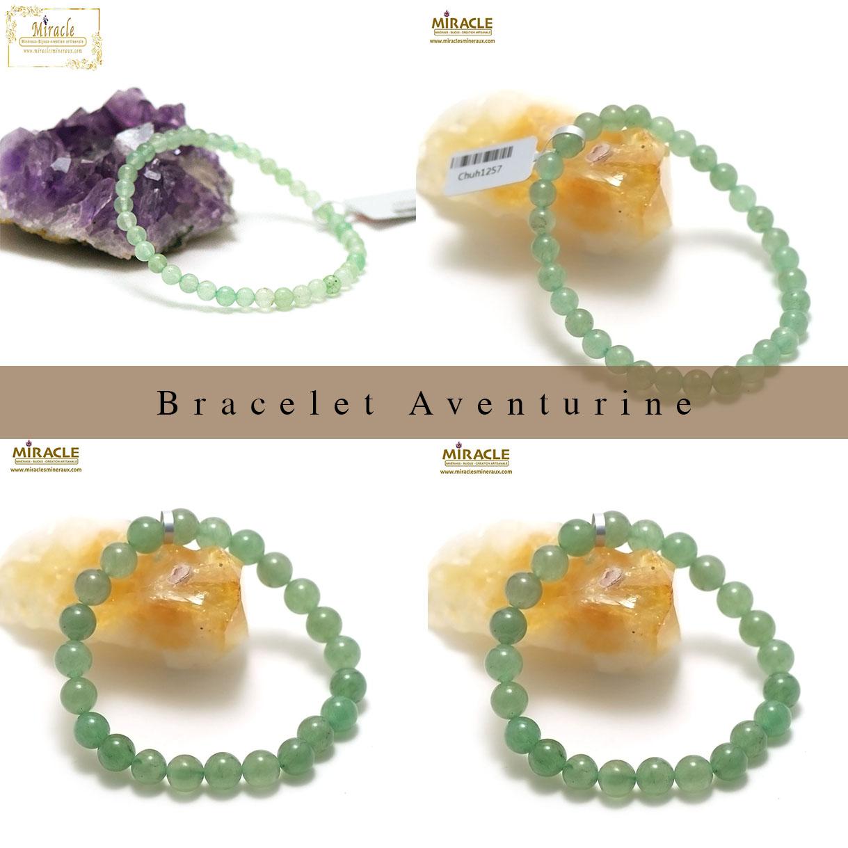 bracelet aventurine, perle ronde 4/6/8/10/12 mm au choix