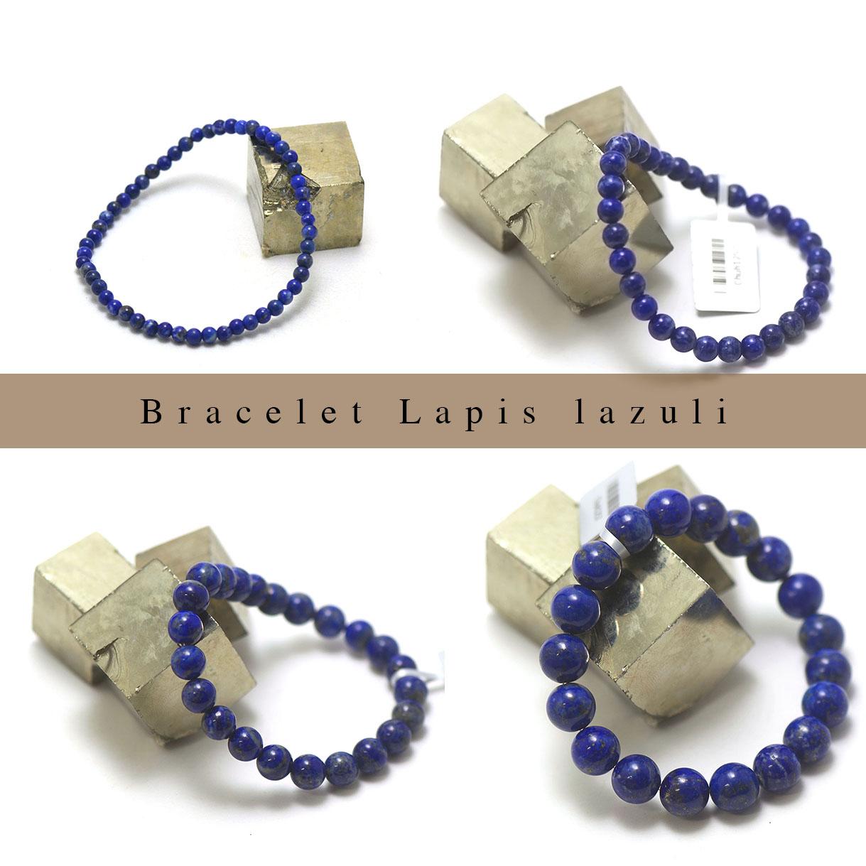 bracelet Lapis lazuli, perle ronde 4/6/8/10/12 mm au choix