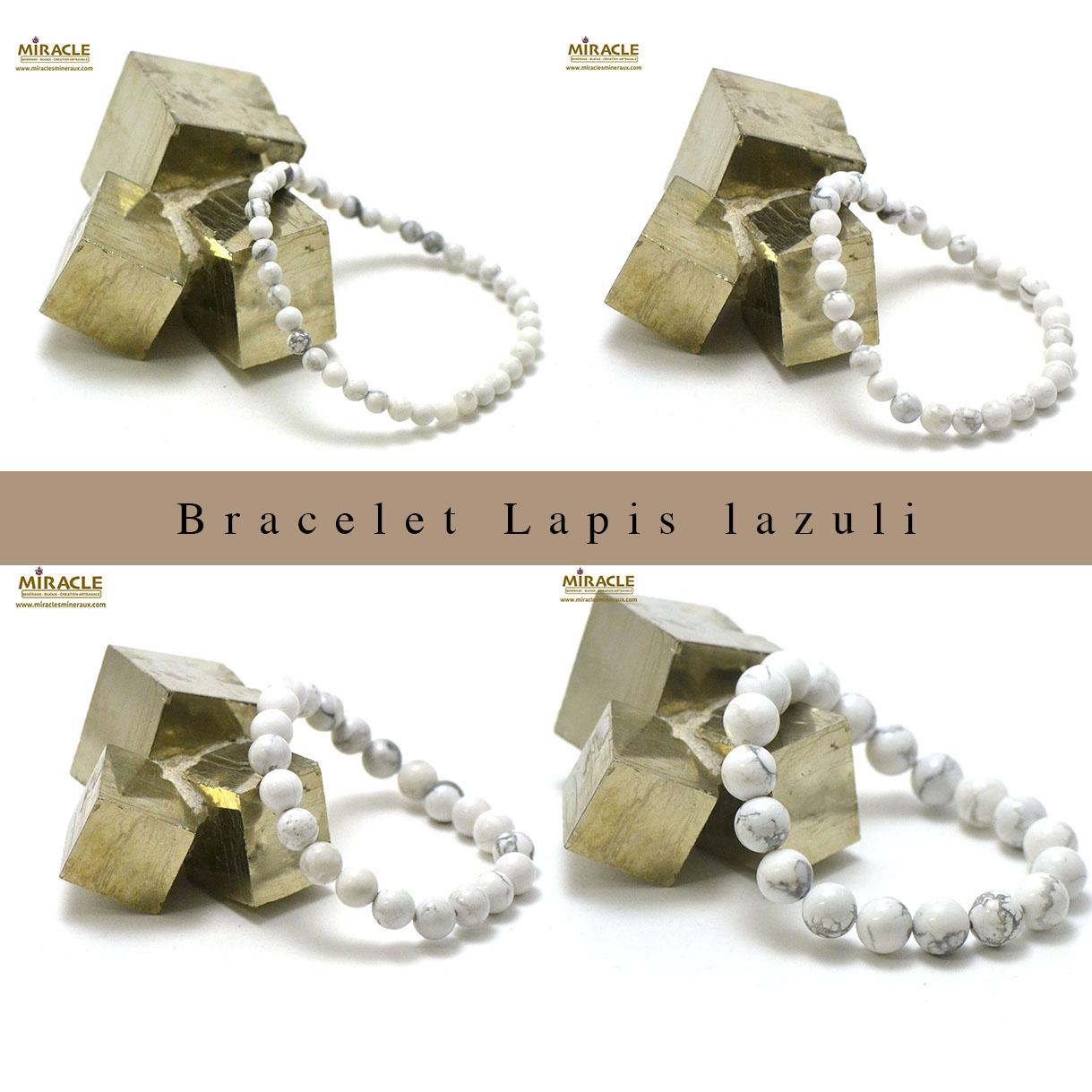 bracelet howlite, perle ronde 4/6/8/10/12 mm au choix