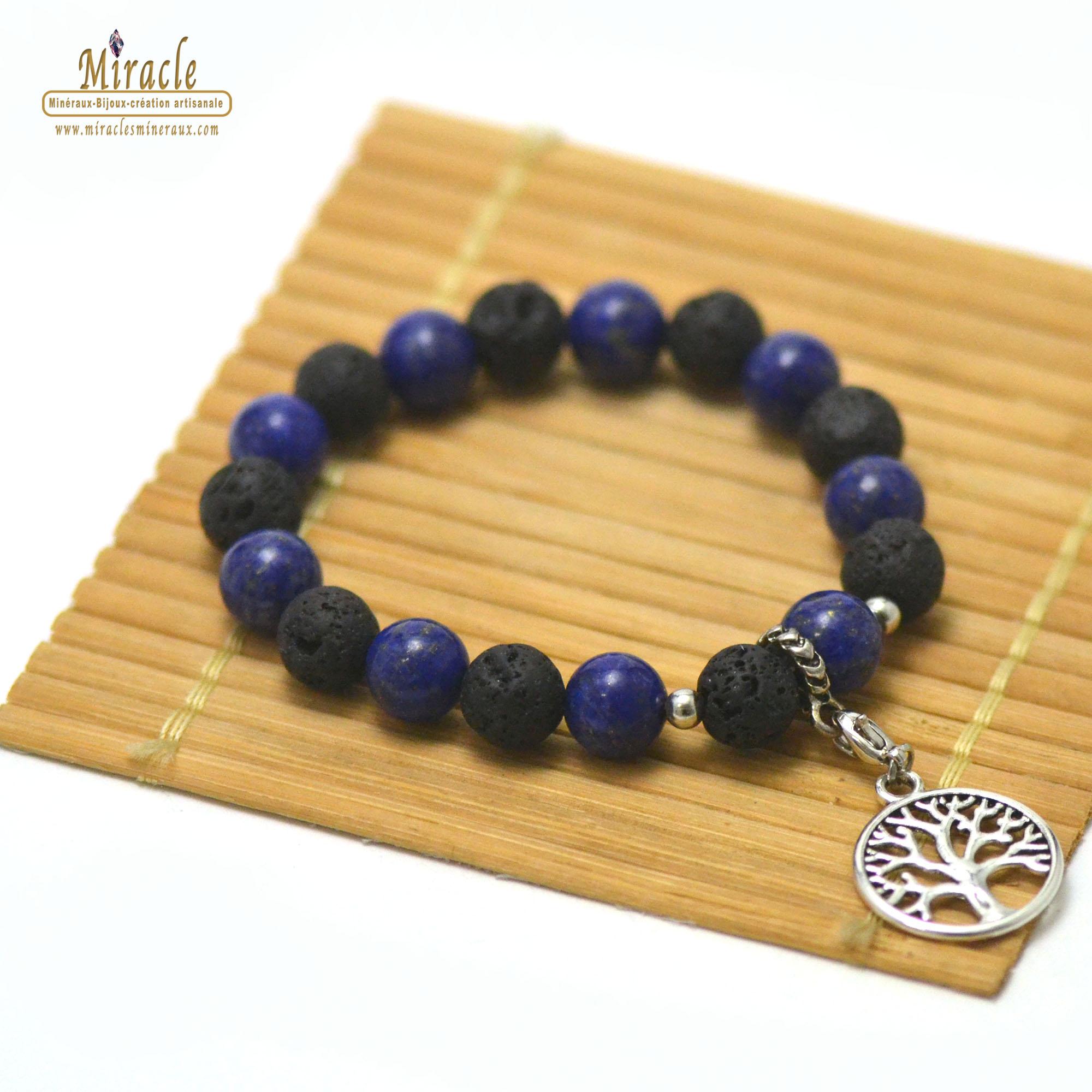 Bracelets énergie vital, en pierre naturelle de lapis lazuli et de pierre de lave