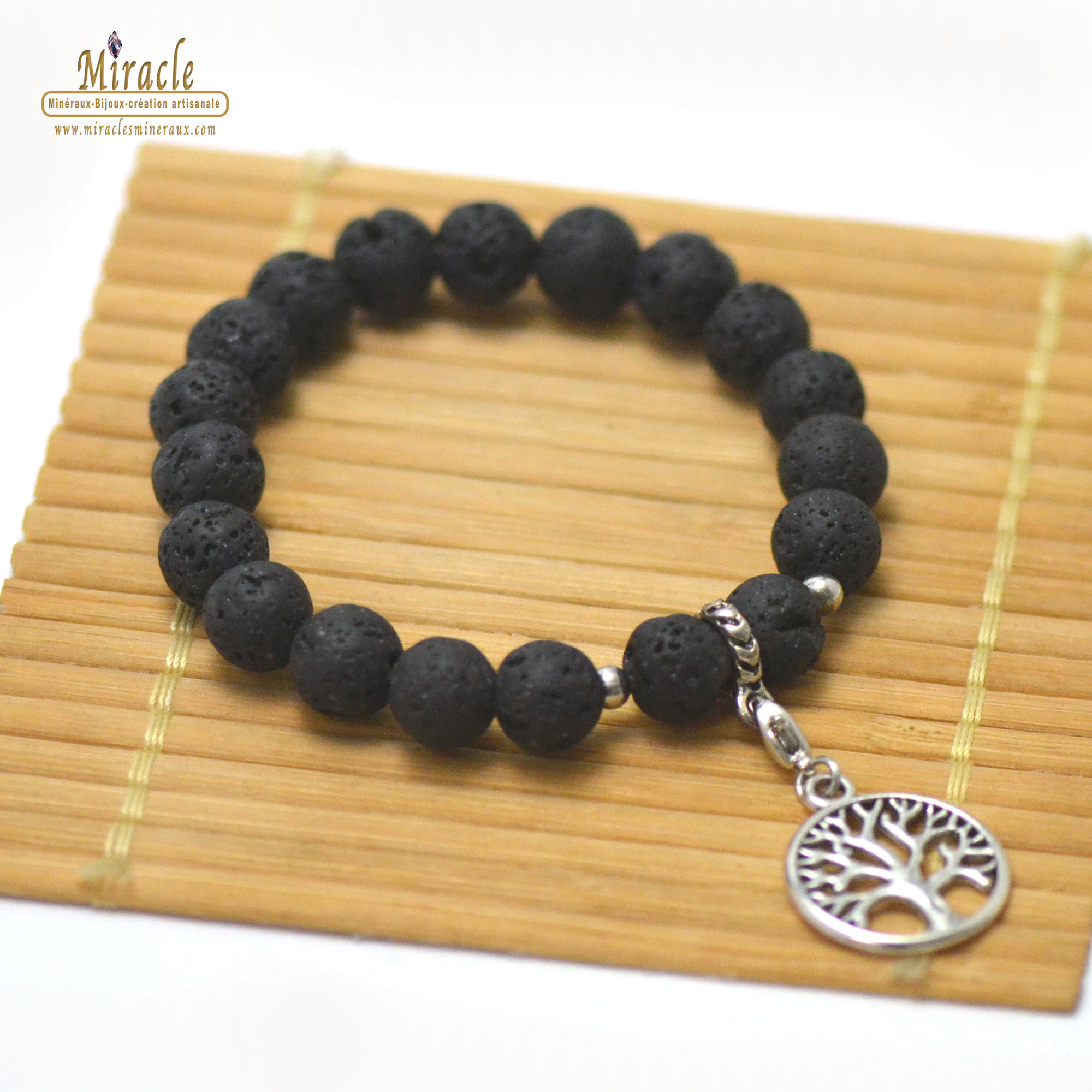 Bracelets énergie vital, en pierre naturelle de pierre de lave