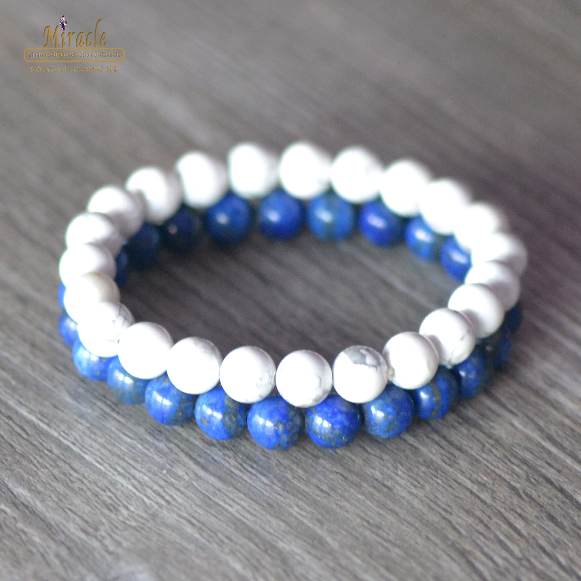 Double bracelets apaisement spirituel, en pierre naturelle de howlite, Lapis Lazuli