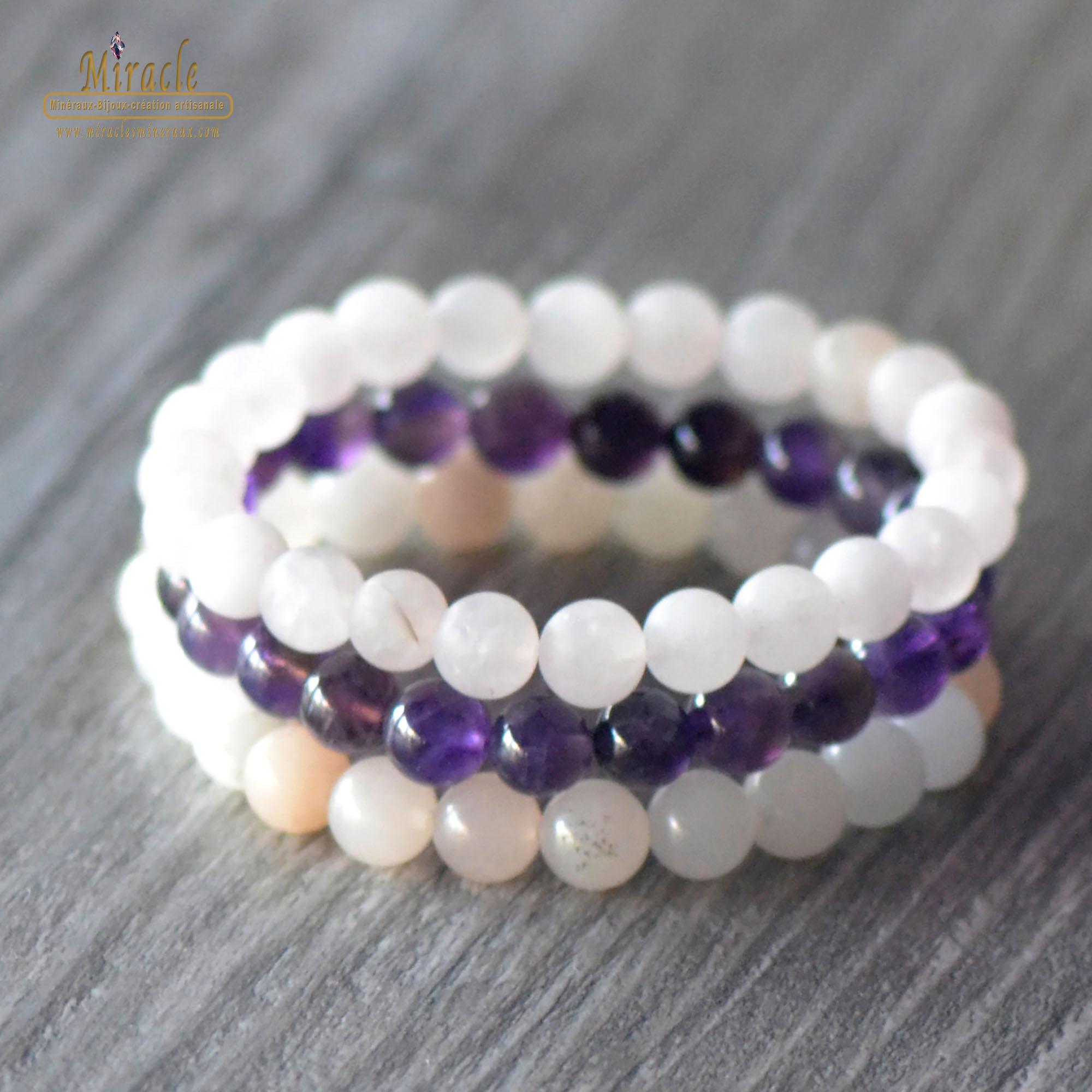 Triple bracelets élévation spirituelle, en pierre naturelle de quartz rose givré/ d\'améthyste/ d\'aventurine rose