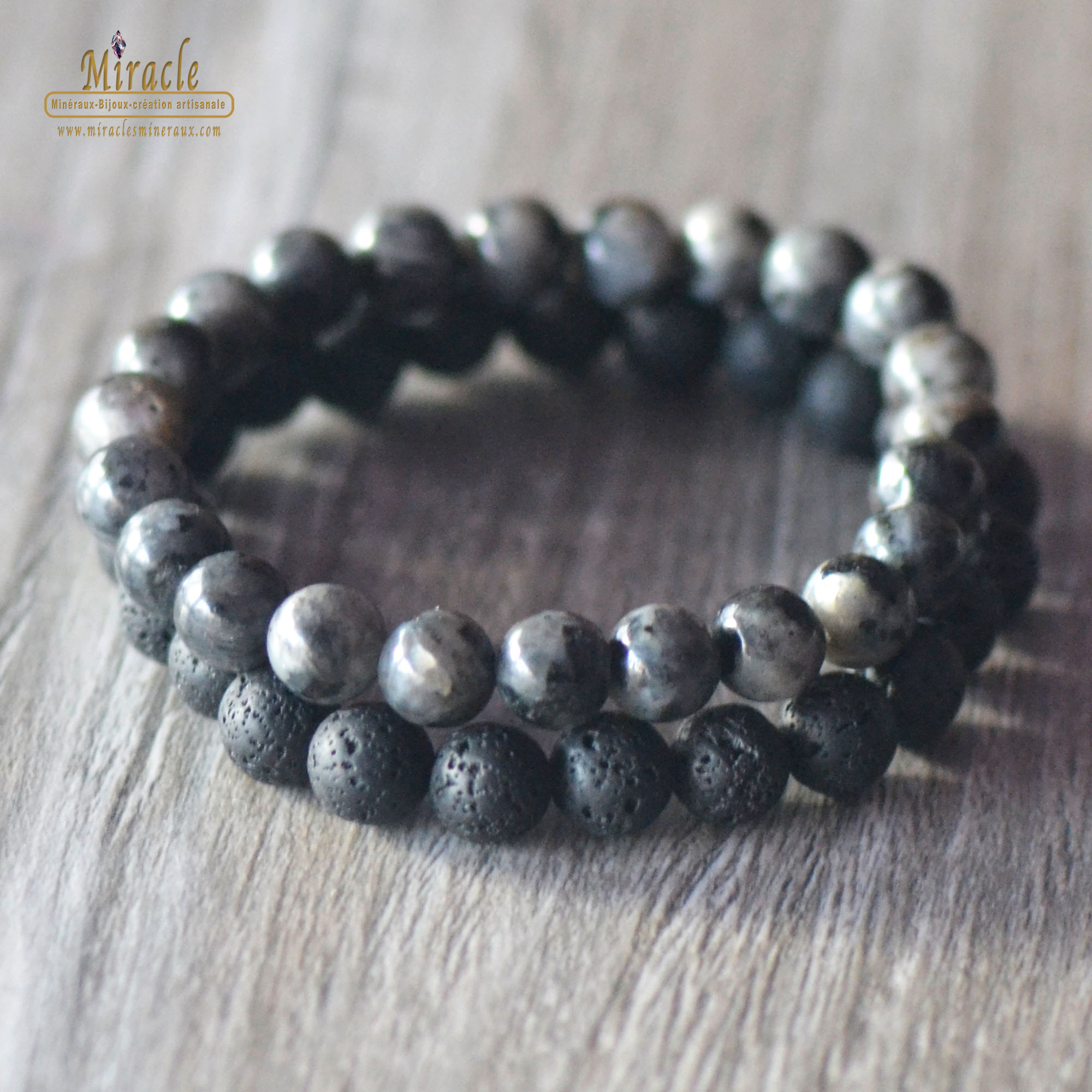 Double bracelets vitalité, en pierre naturelle de larvikite, pierre de larve