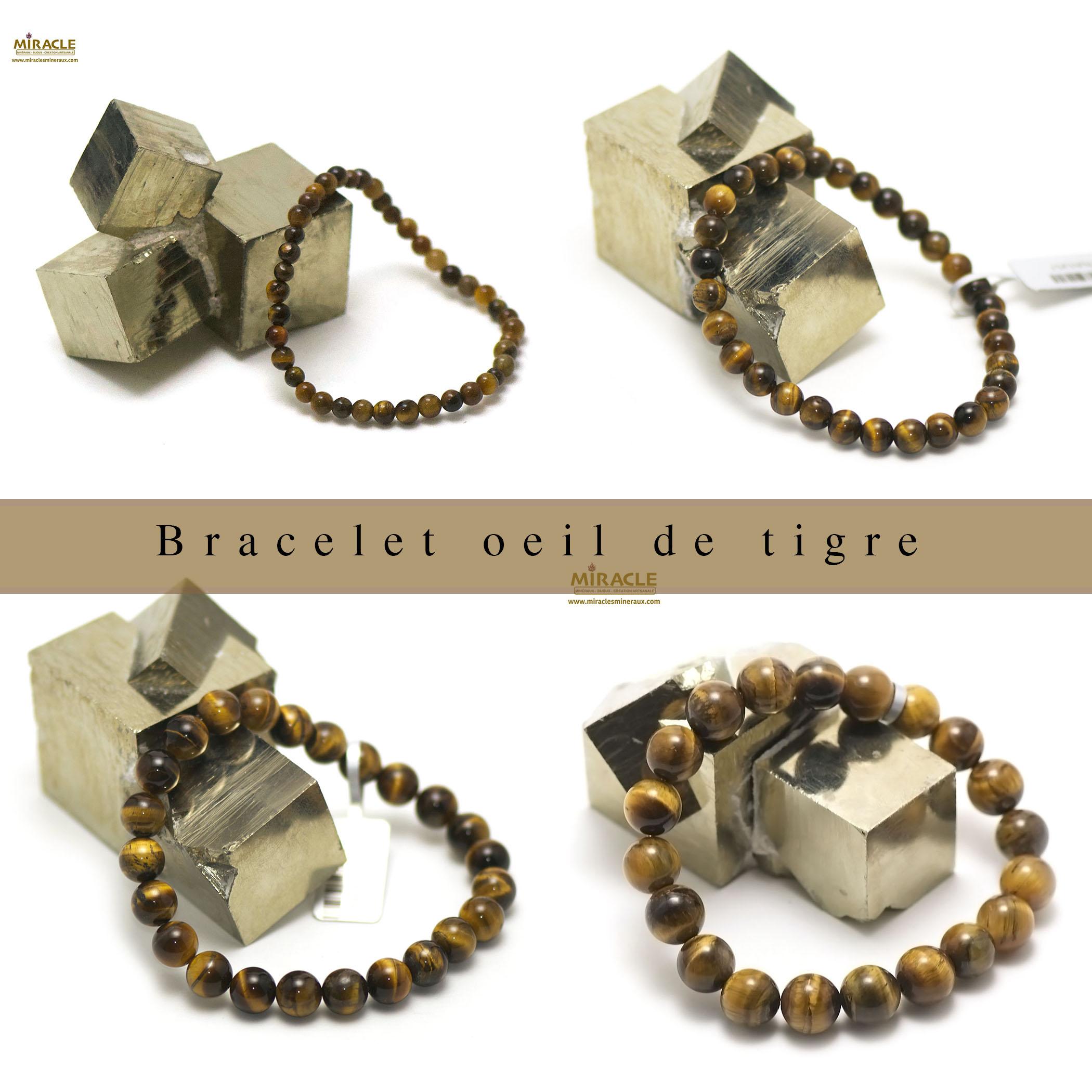 bracelet oeil de tigre, perle ronde 4/6/8/10/12 mm au choix