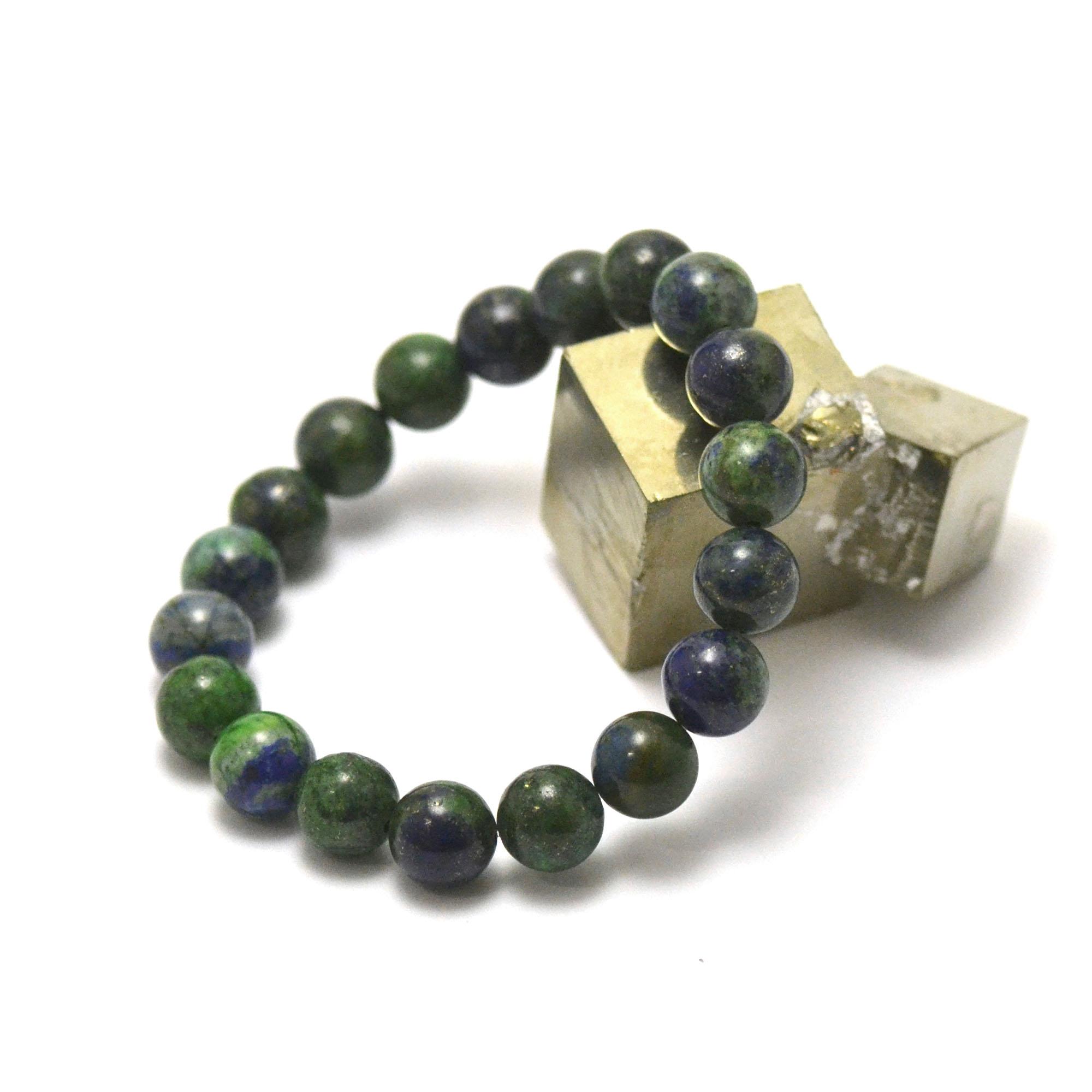 bracelet azurite-malachite ronde 10 mm