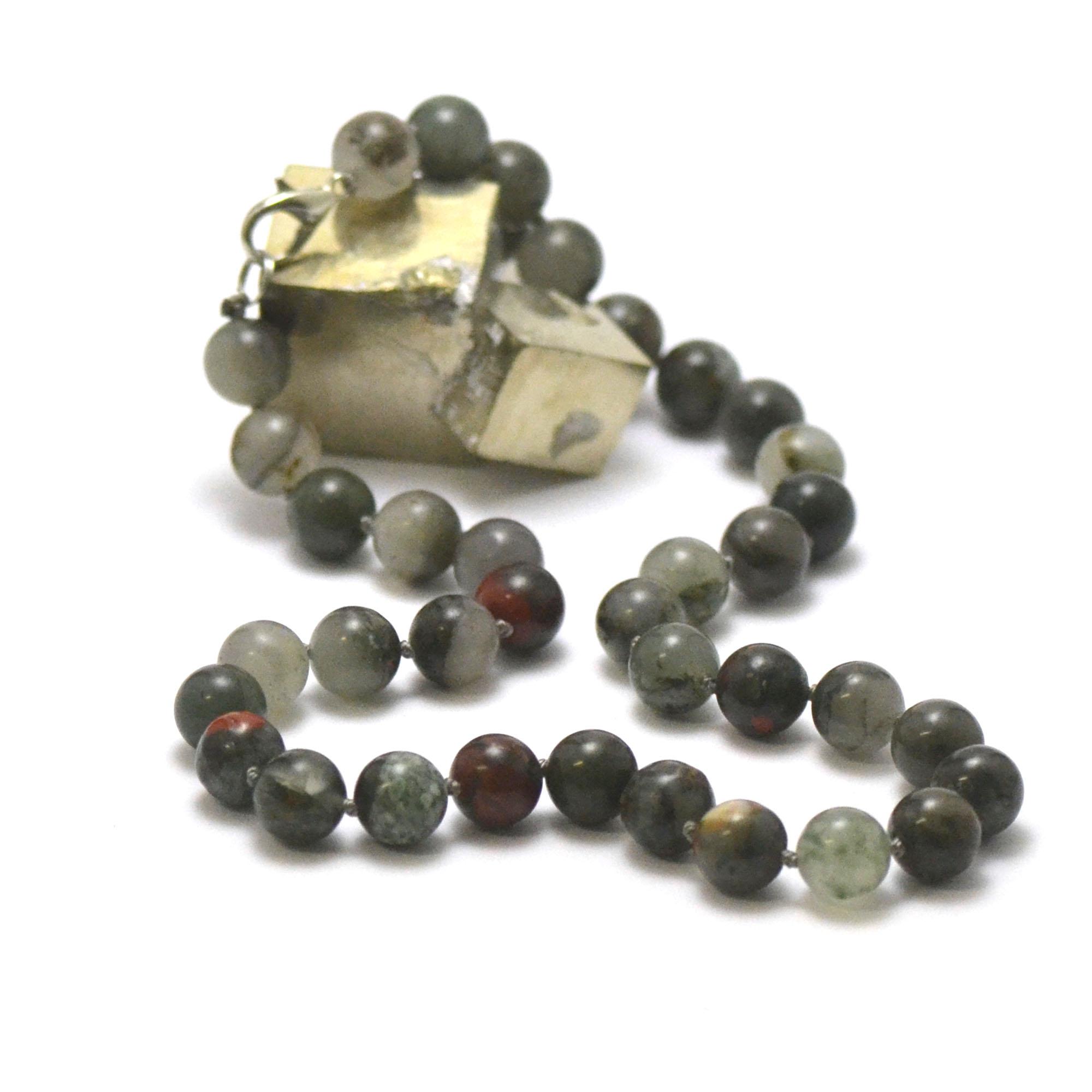 collier jaspe héliotrope perle ronde 10 mm