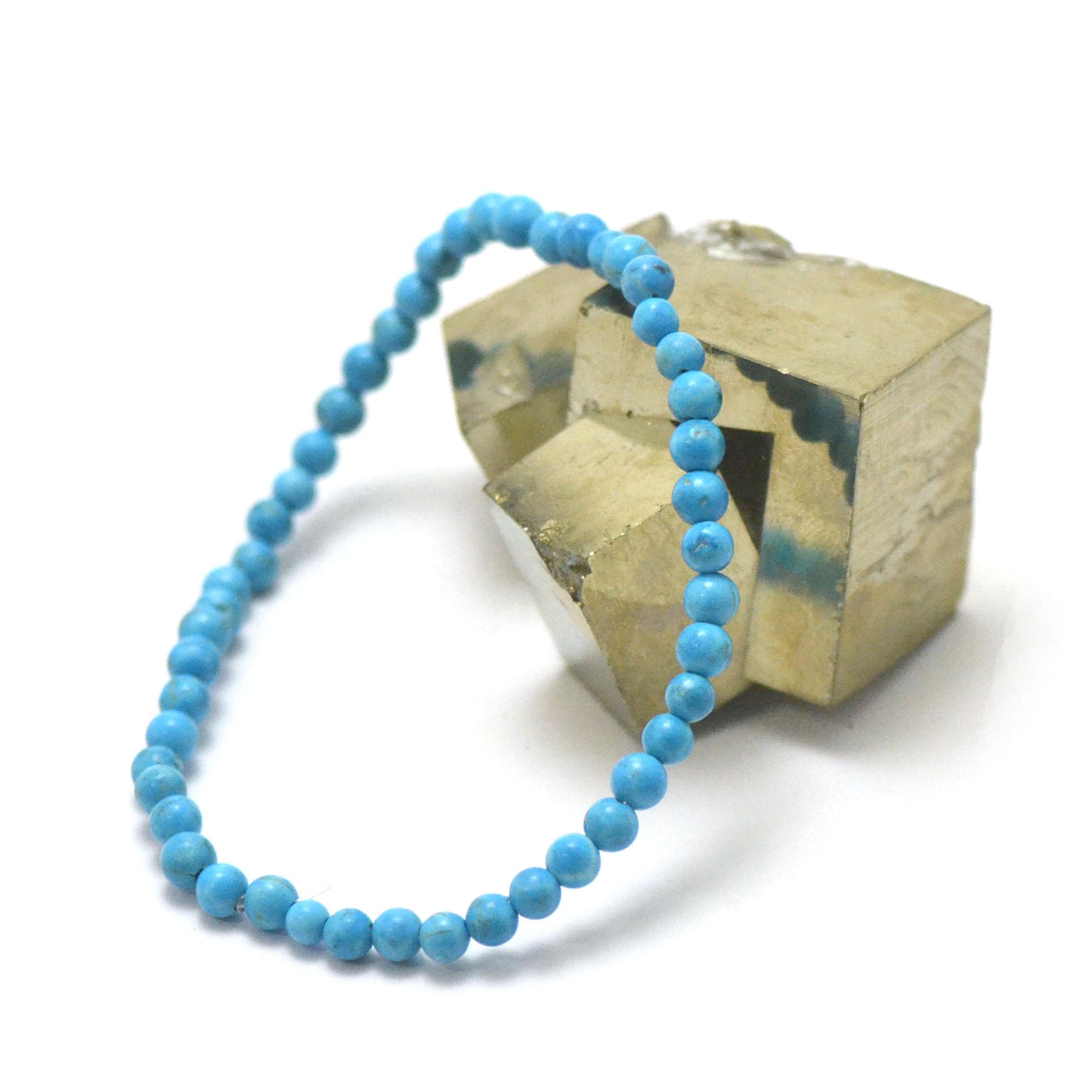 bracelet turquoise de Mexique, perle ronde 4 mm