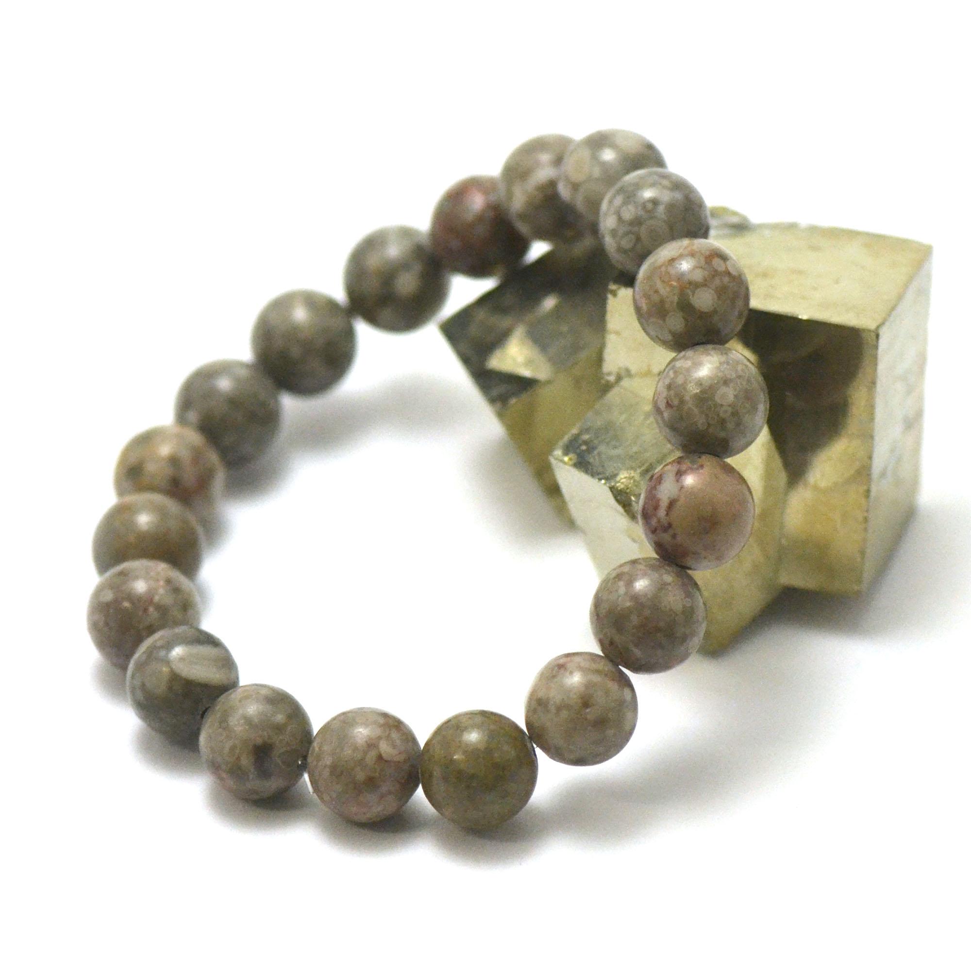 Bracelet agate fossile ou turitelle, perles rond 10 mm
