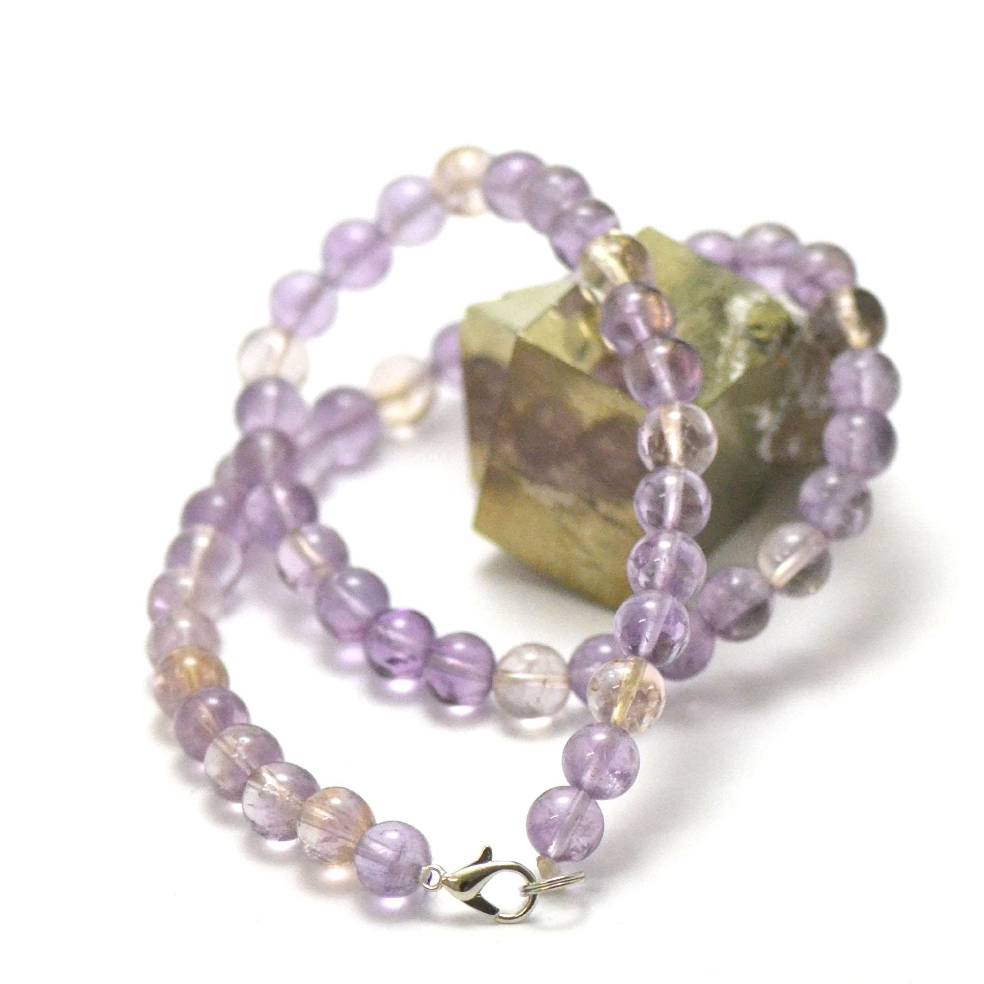 collier amétrine perle ronde 8 mm