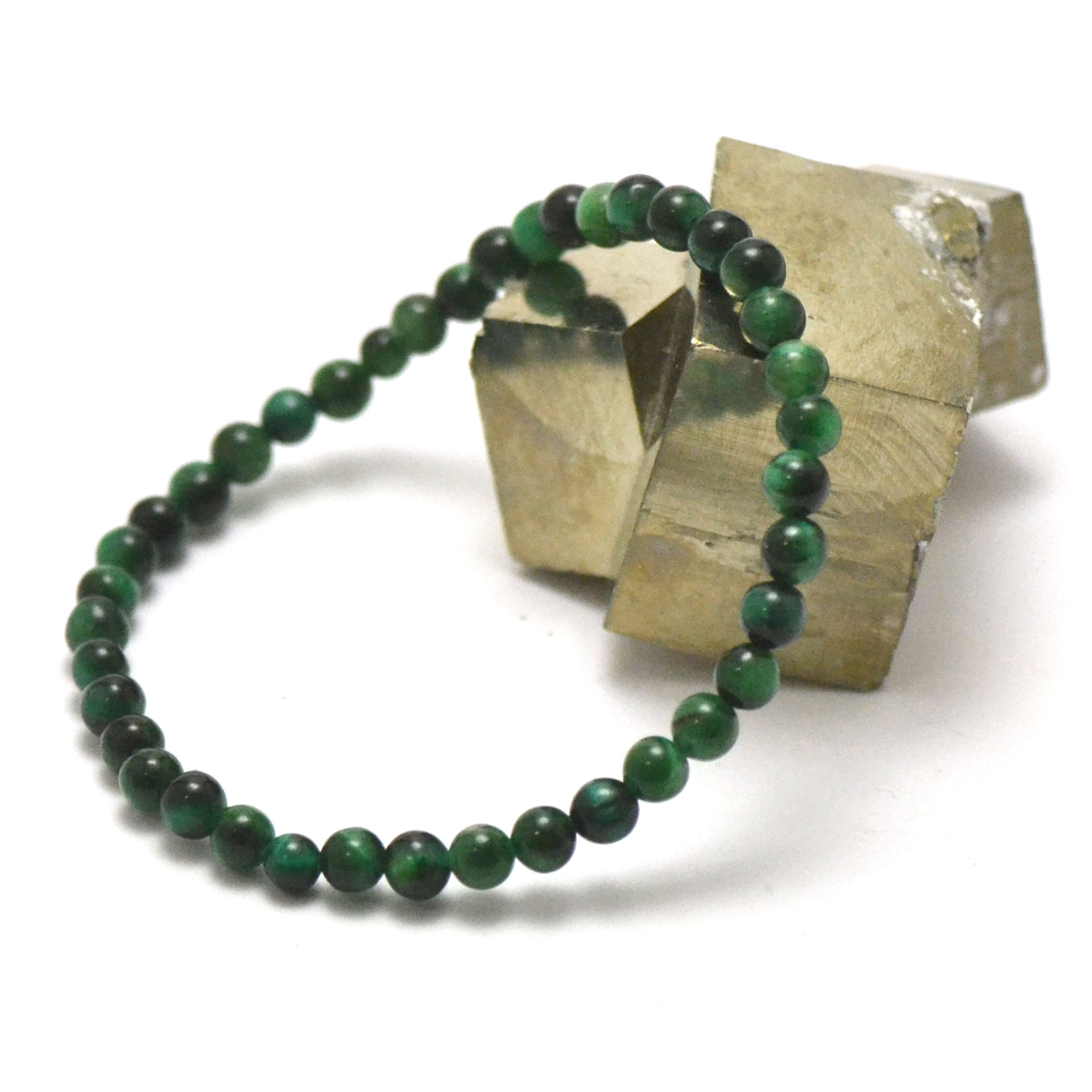Bracelet oeil de tigre vert perle ronde 4 mm