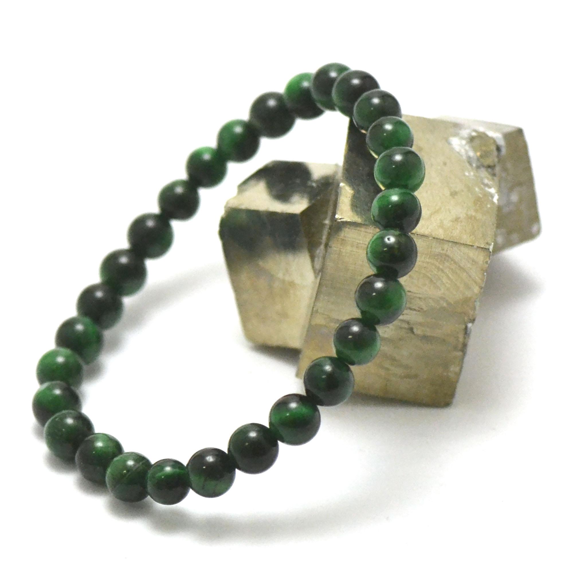 Bracelet oeil de tigre vert perle ronde 6 mm
