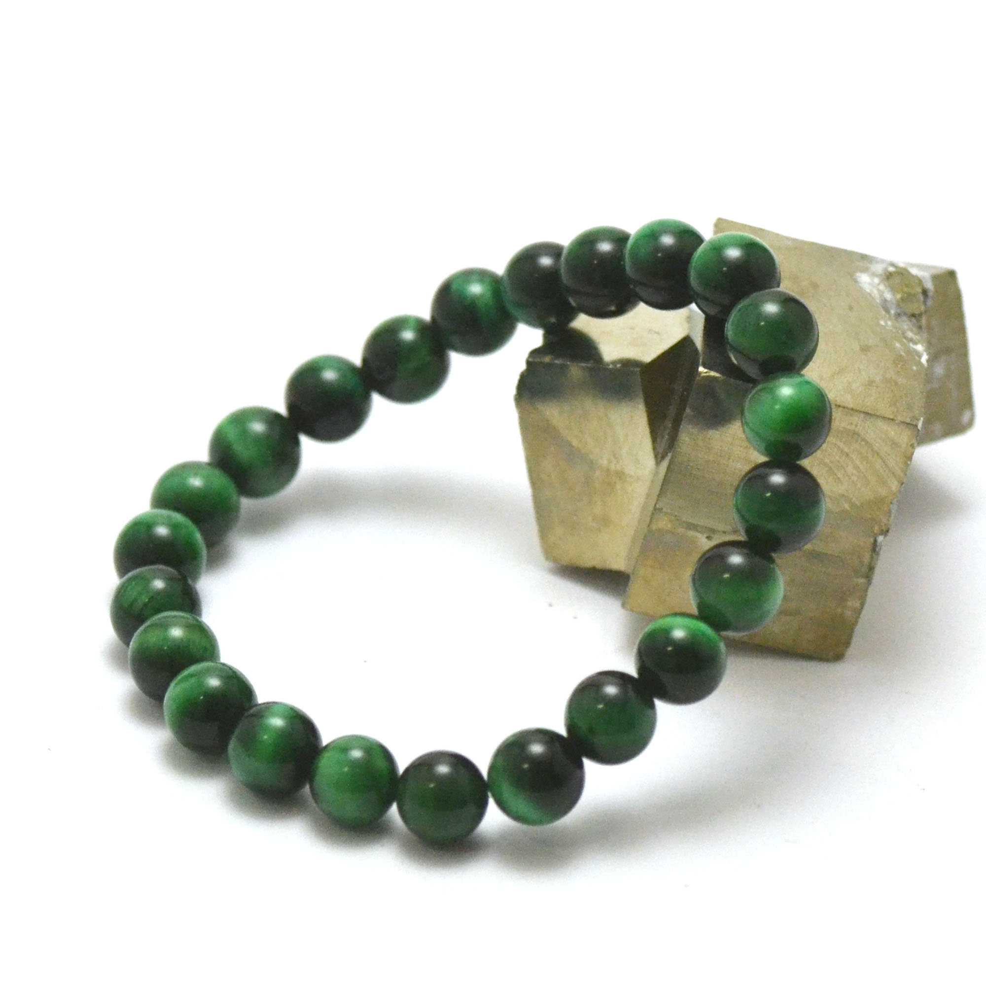Bracelet oeil de tigre vert perle ronde 8 mm