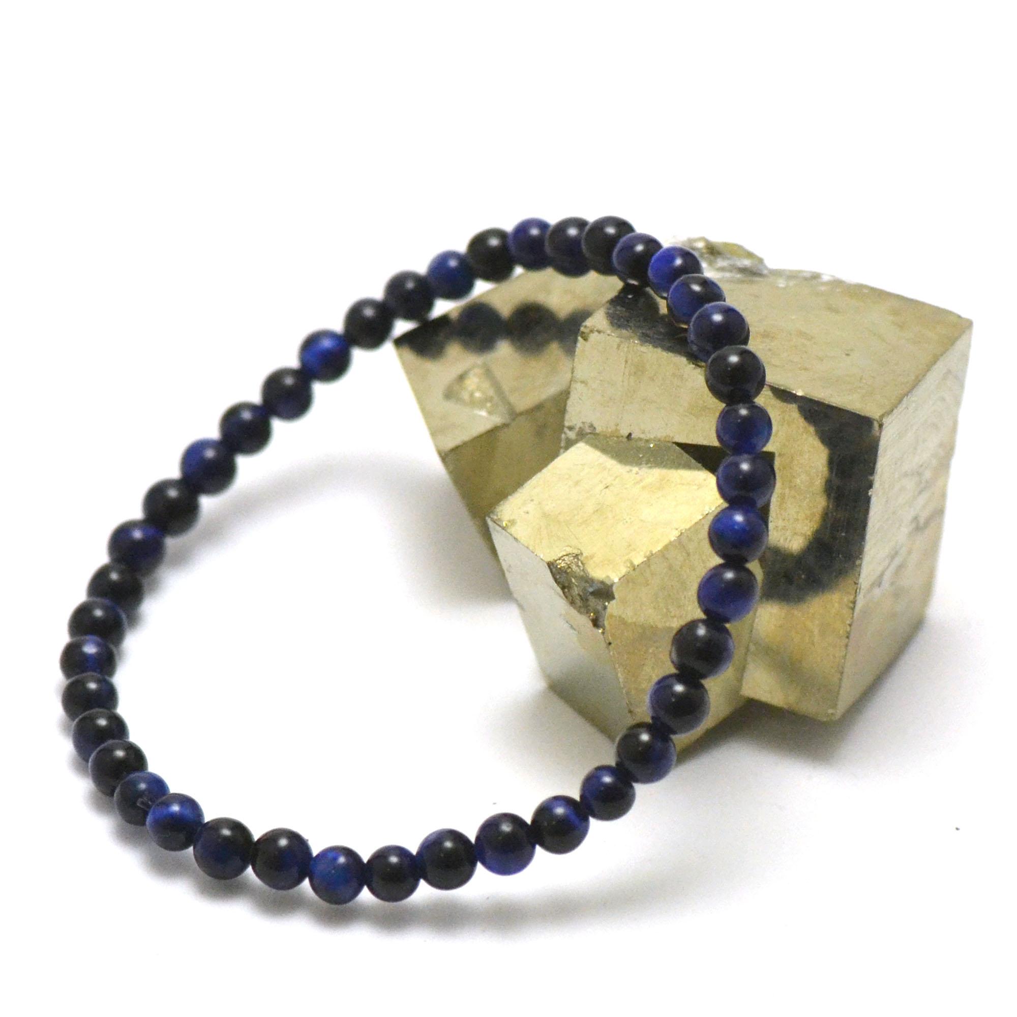 Bracelet oeil de tigre bleu perle ronde 4 mm