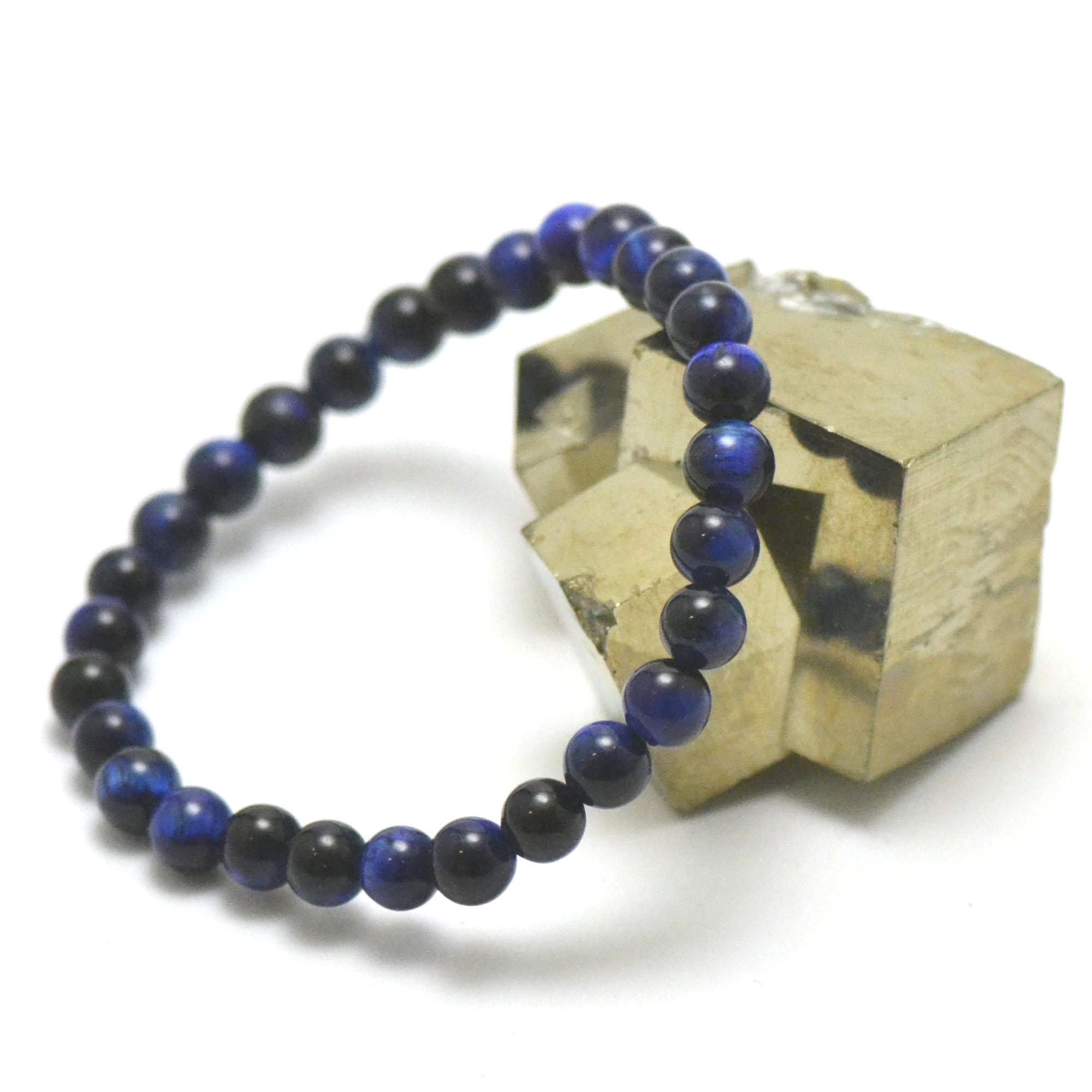 Bracelet oeil de tigre bleu perle ronde 6 mm