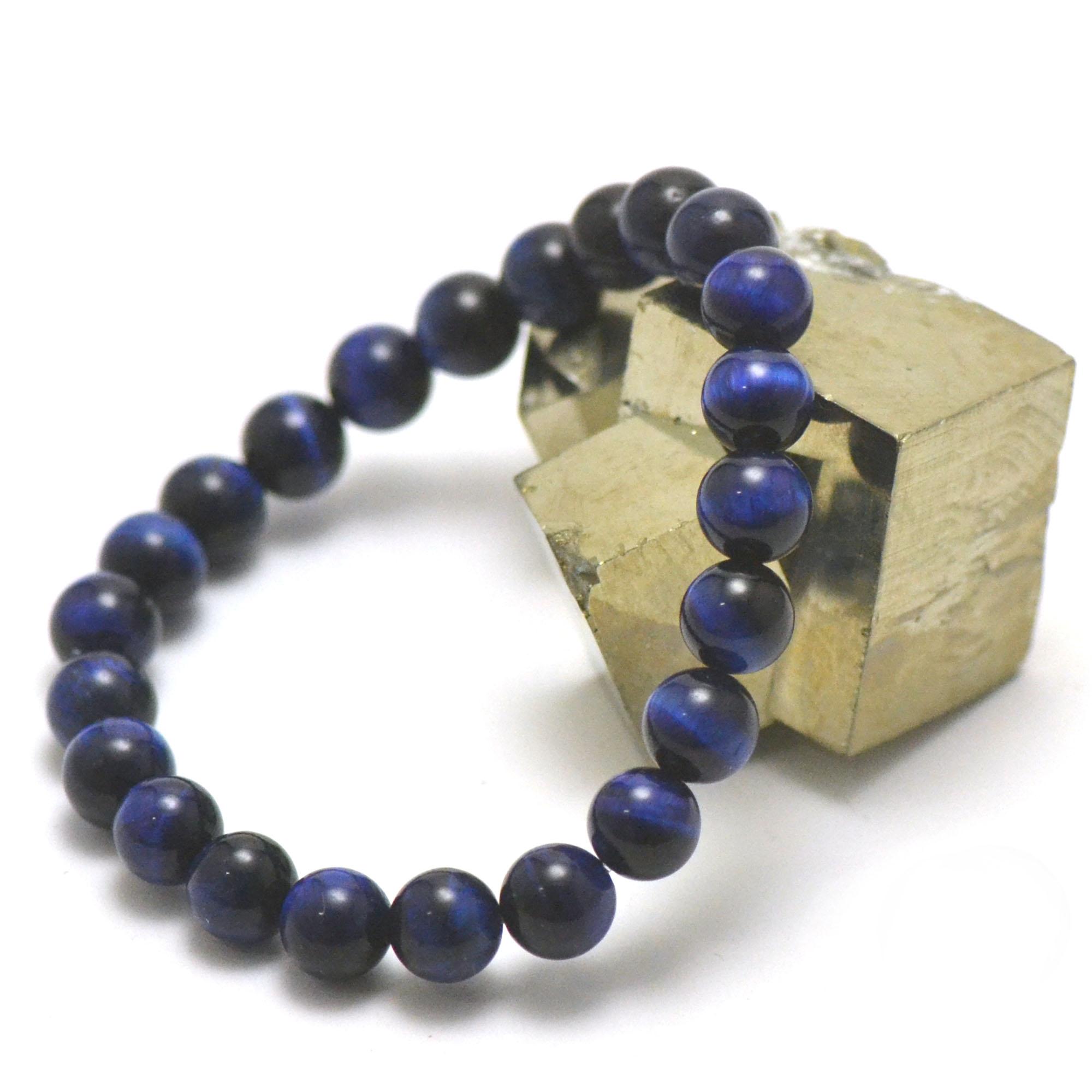 Bracelet oeil de tigre bleu perle ronde 8 mm