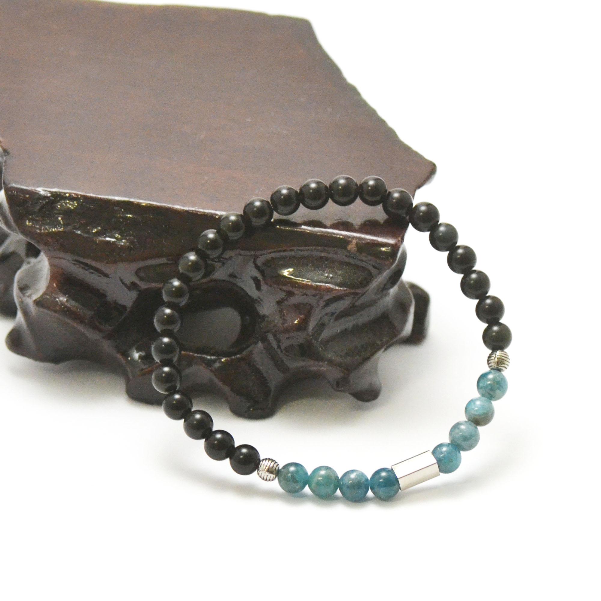 Bracelets protection et sérénité, en pierre naturelle d\'apatite et d\'obsidienne noire