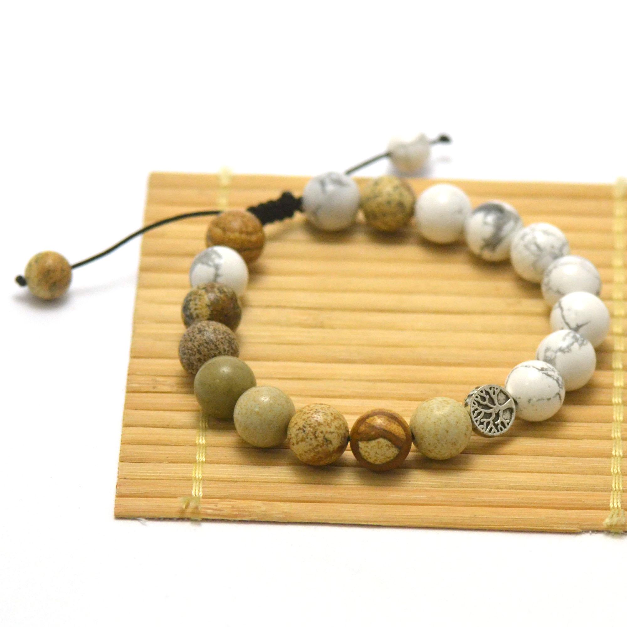 Bracelets patience et méditation, en pierre naturelle de jaspe paysage et d\'howlite