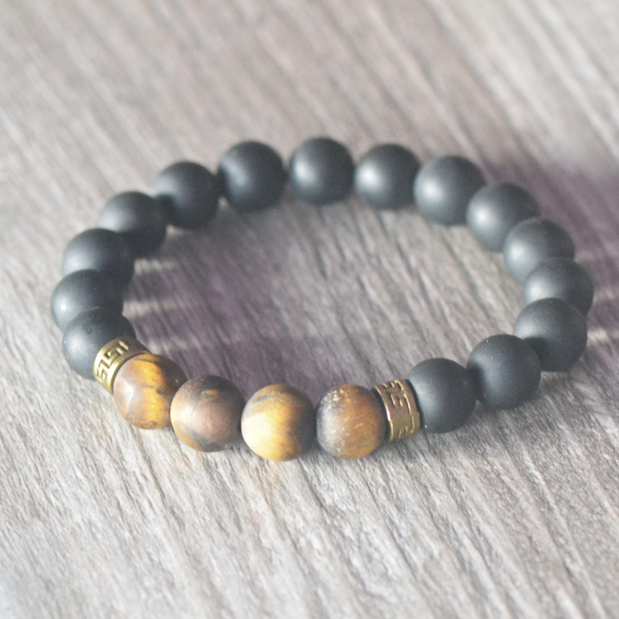Bracelets self-control et protection, en pierre naturelle d\'onyx mat et de oeil de tigre mat (effet givré)