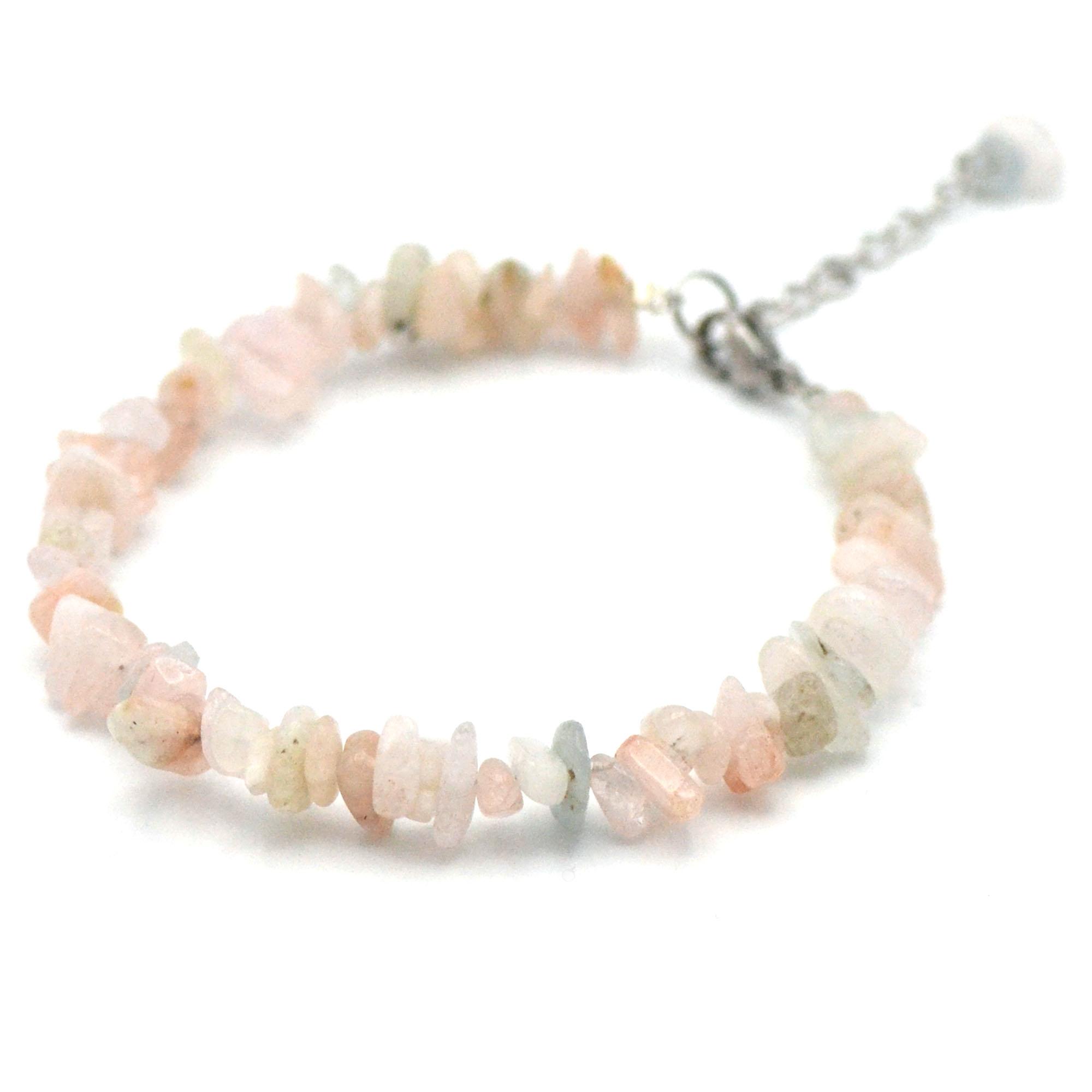 bracelet béryl-morganite, perle chips avec fermoir et chainette en acier inoxydable