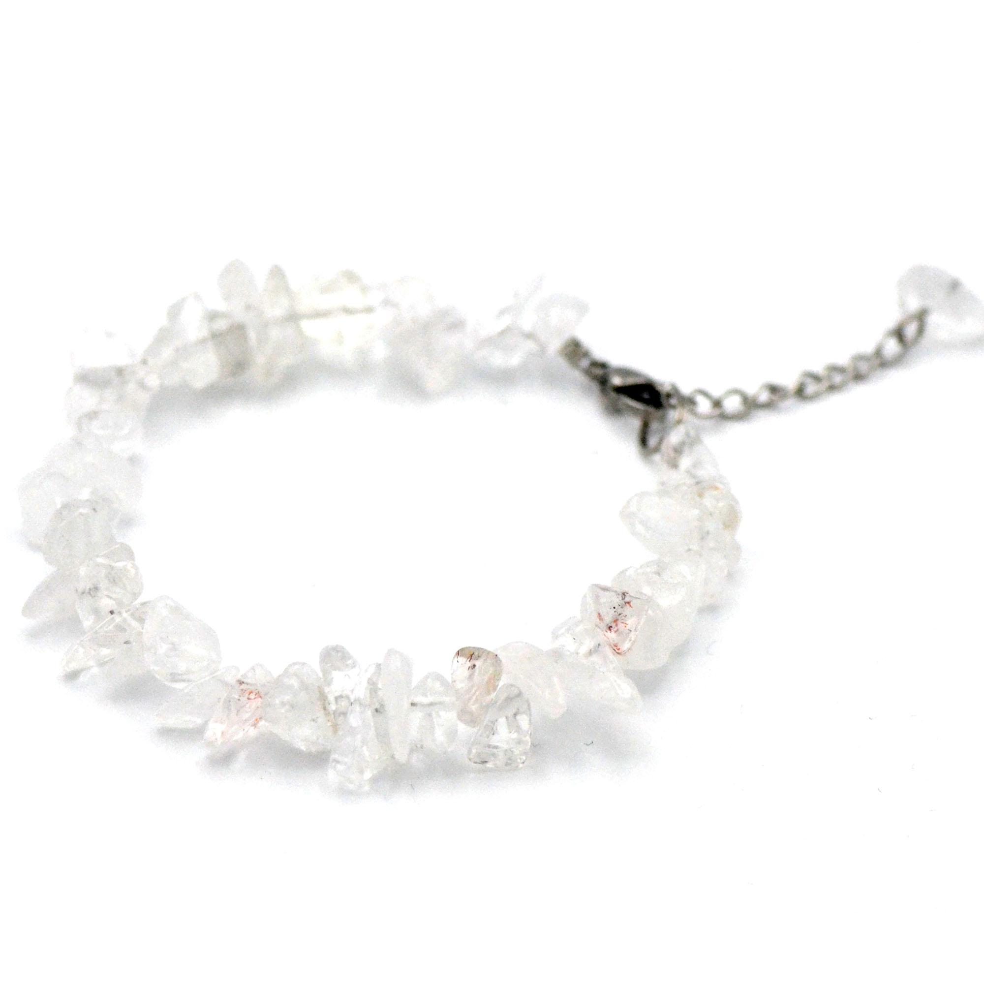bracelet cristal de roche, perle chips avec fermoir et chainette en acier inoxydable