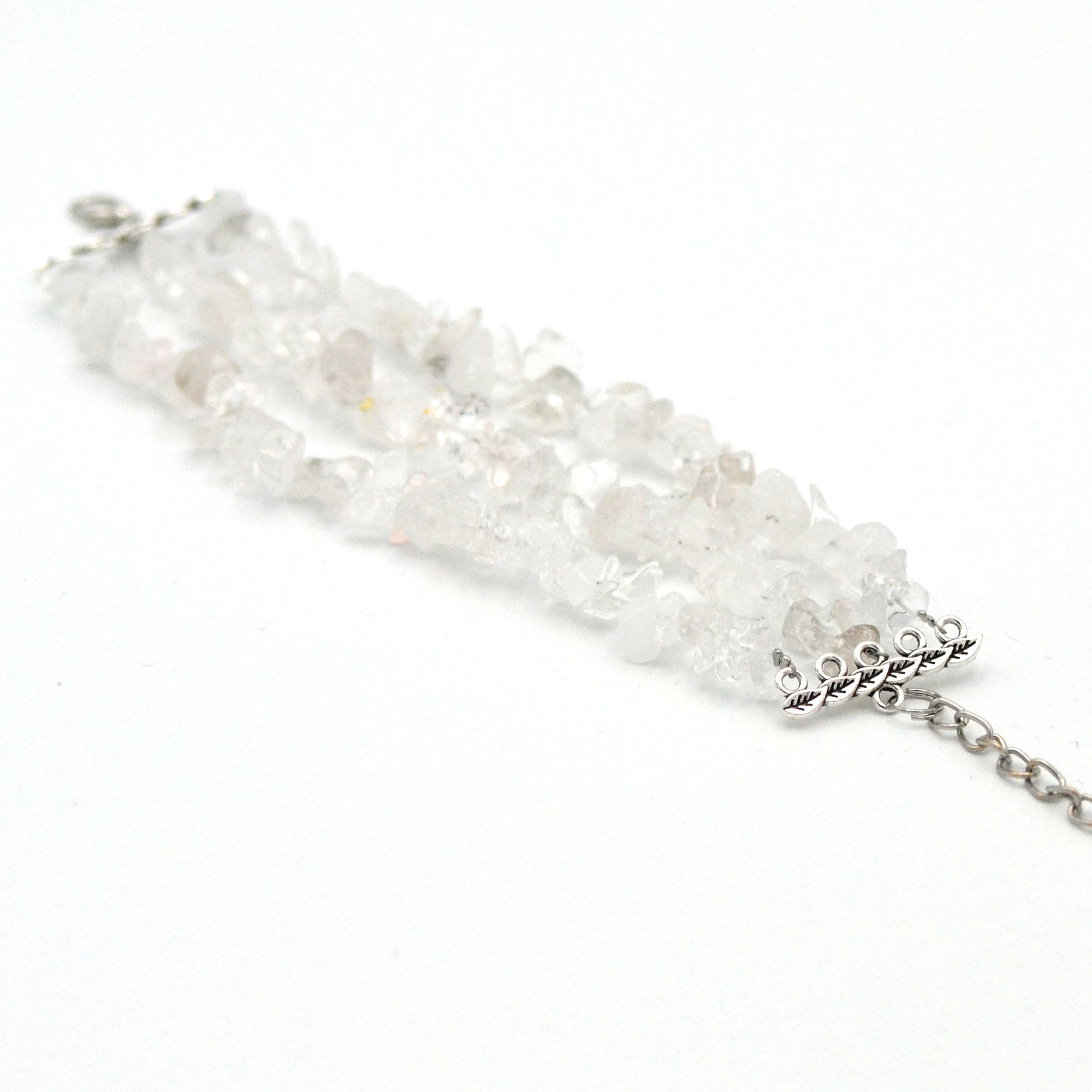 bracelet cristal de roche, perle chips triple rangs
