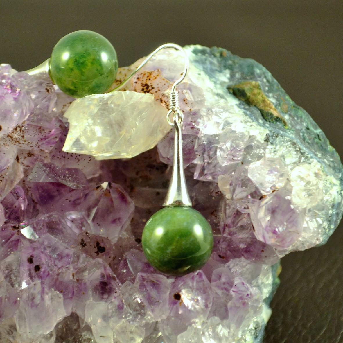 Boucle d\'oreille Agate mousse ronde 12 mm -lustre