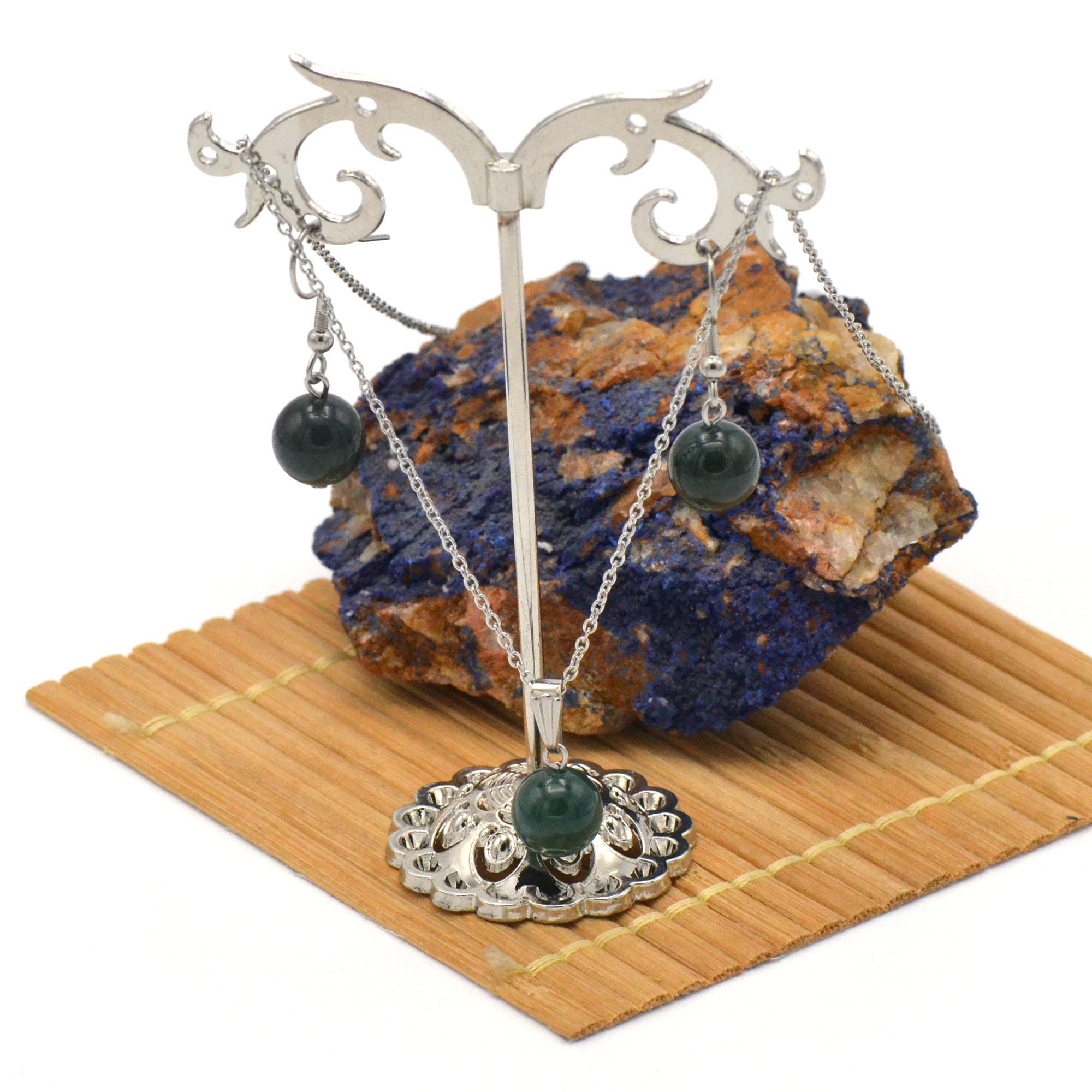 Parure collier/boucles d\'oreille en pierre naturelle d\'Agate mousse, acier inoxydable