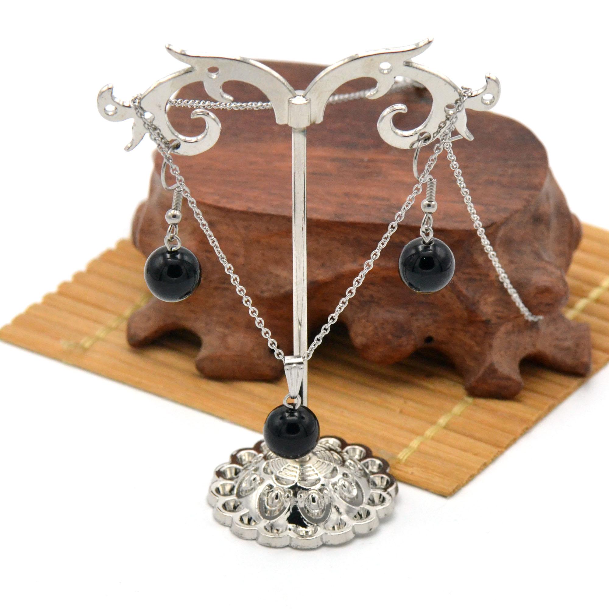 Parure collier/boucles d\'oreille en pierre naturelle de obsidienne noire, acier inoxydable