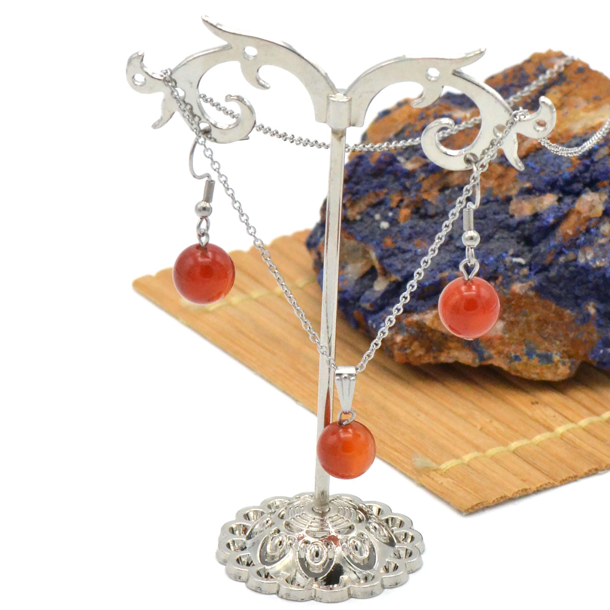 Parure collier/boucles d\'oreille en pierre naturelle de cornaline, acier inoxydable