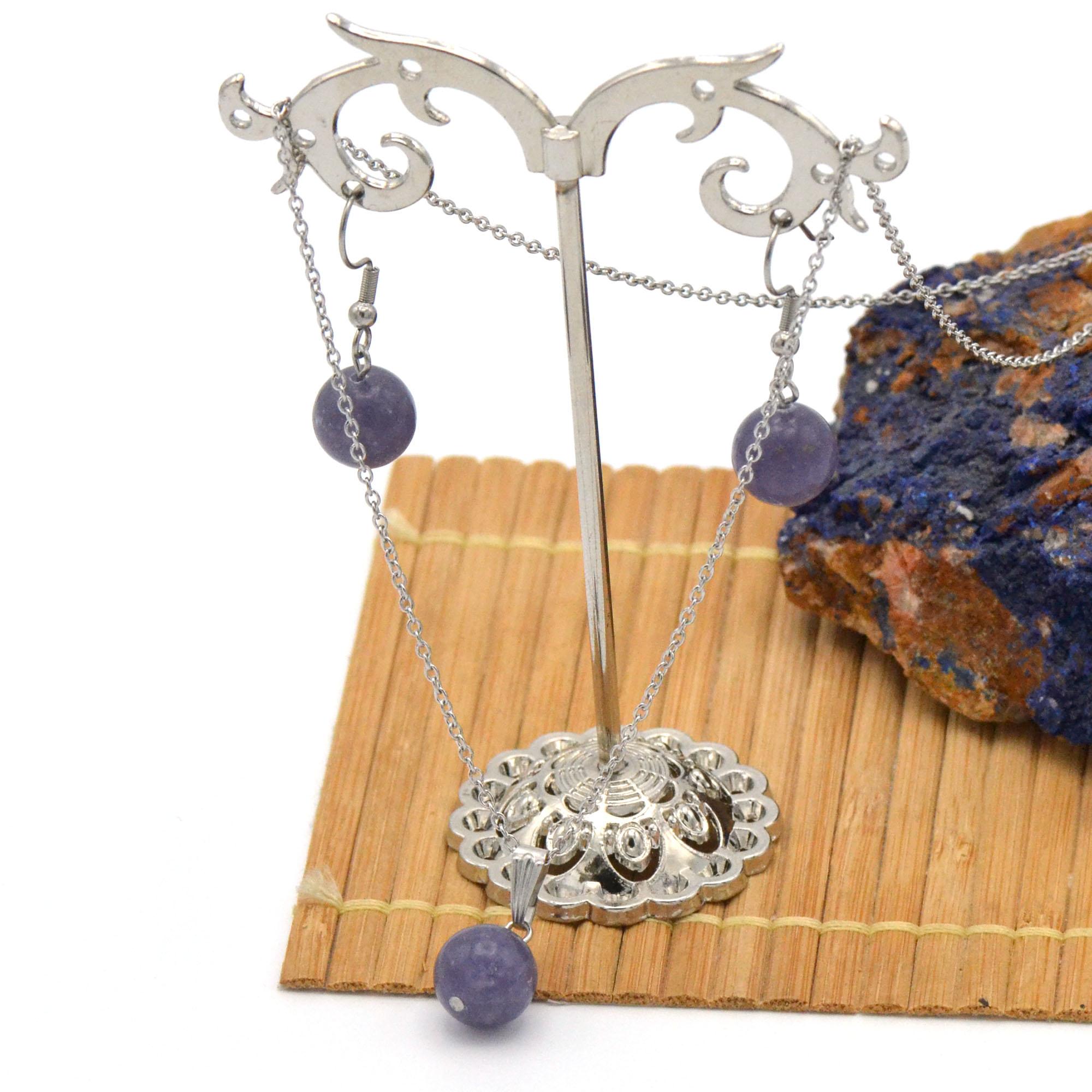 Parure collier/boucles d\'oreille en pierre naturelle de lépidolite, acier inoxydable