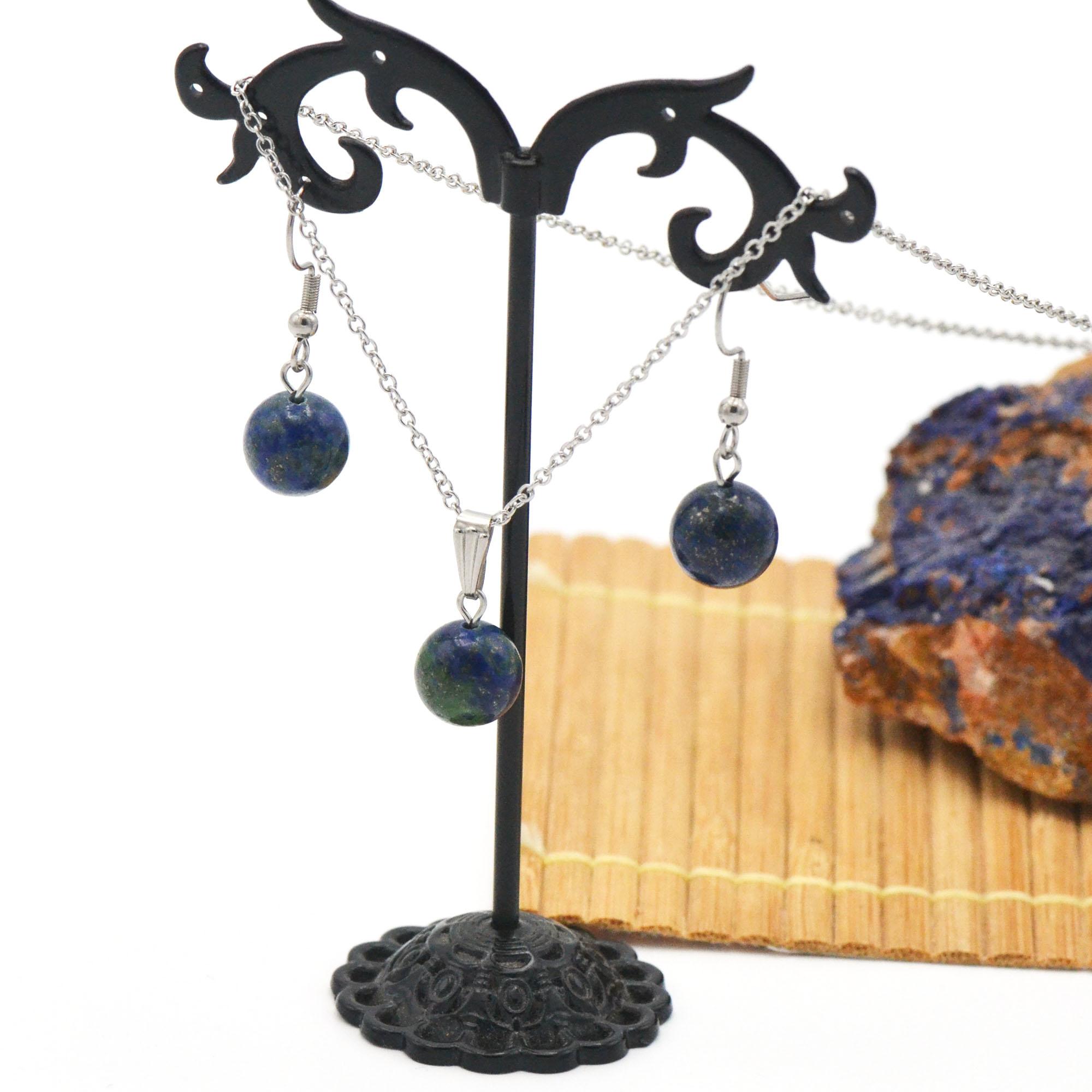 Parure collier/boucles d\'oreille en pierre naturelle d\'azurite-malachite, acier inoxydable