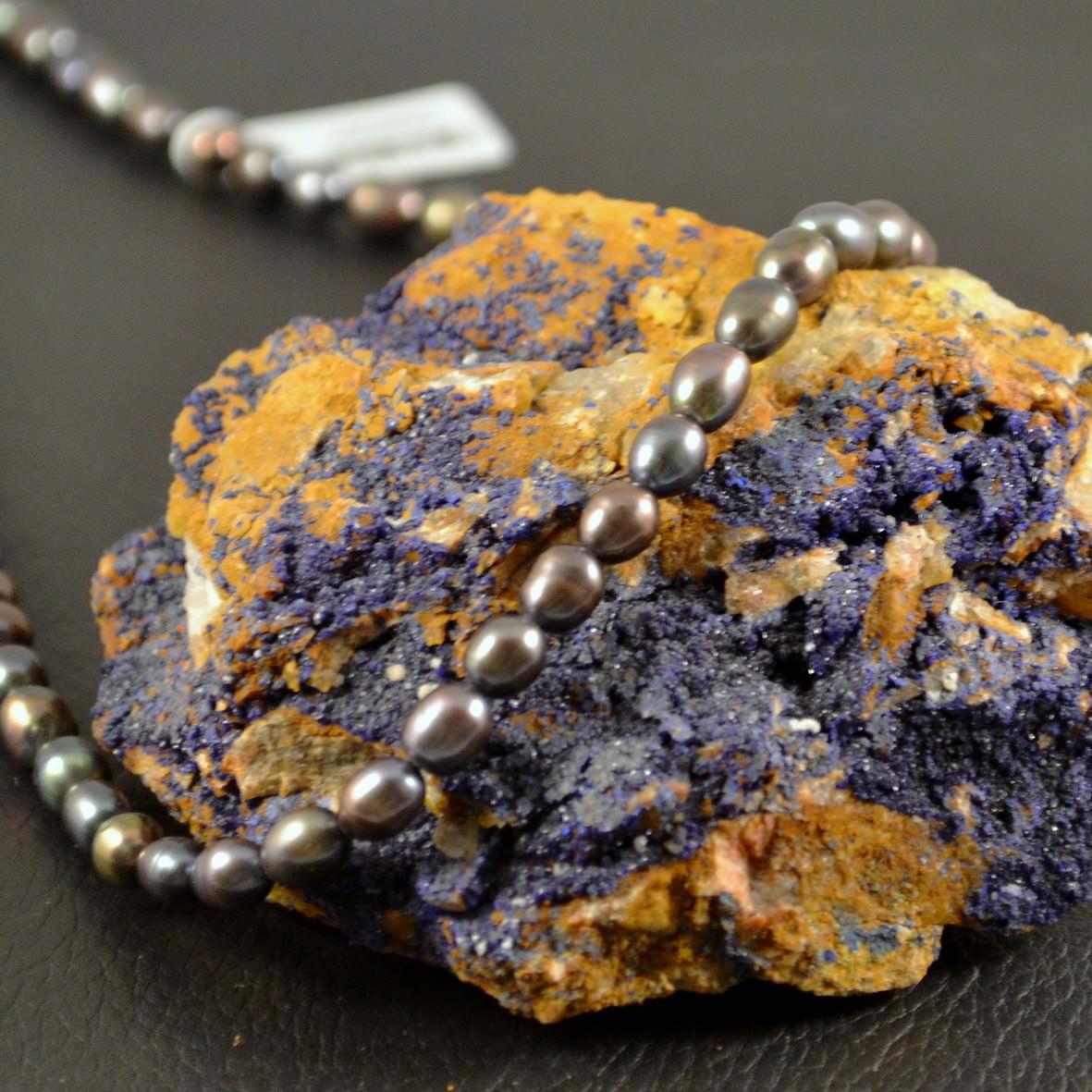 Collier Perle d\'eau douce grain de riz  noir