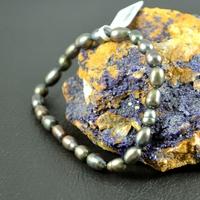"""Bracelet perle d'eau douce """"grain de riz 6mm""""  noir"""