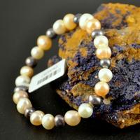 """Bracelet perle d'eau douce """"ronde 6 mm""""blanc-noir -rose"""