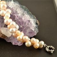 """Bracelet perle d'eau douce """"ronde jumelle croisée"""" rose"""